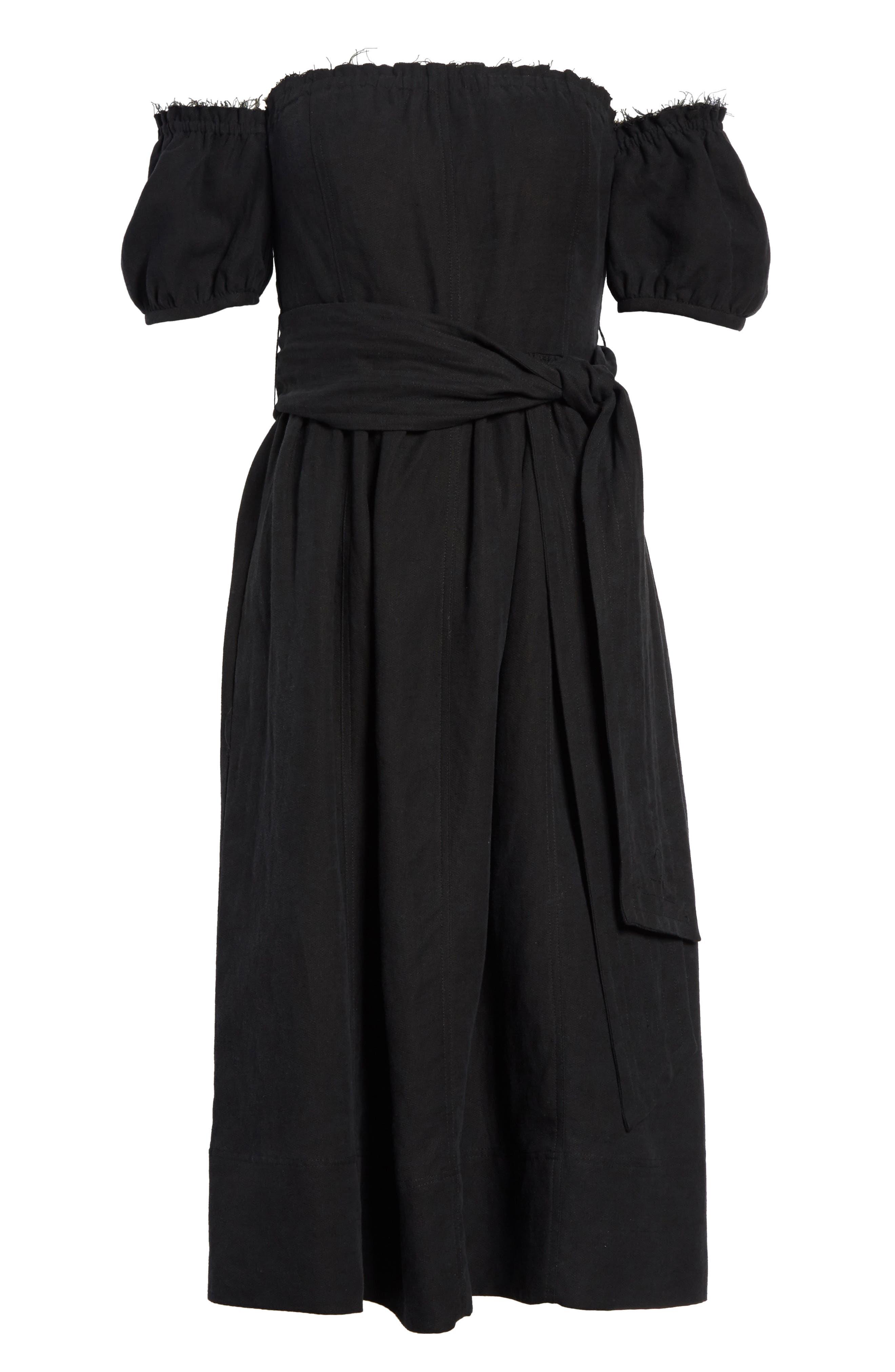 Lalla Off the Shoulder Linen Blend Dress,                             Alternate thumbnail 6, color,                             Black