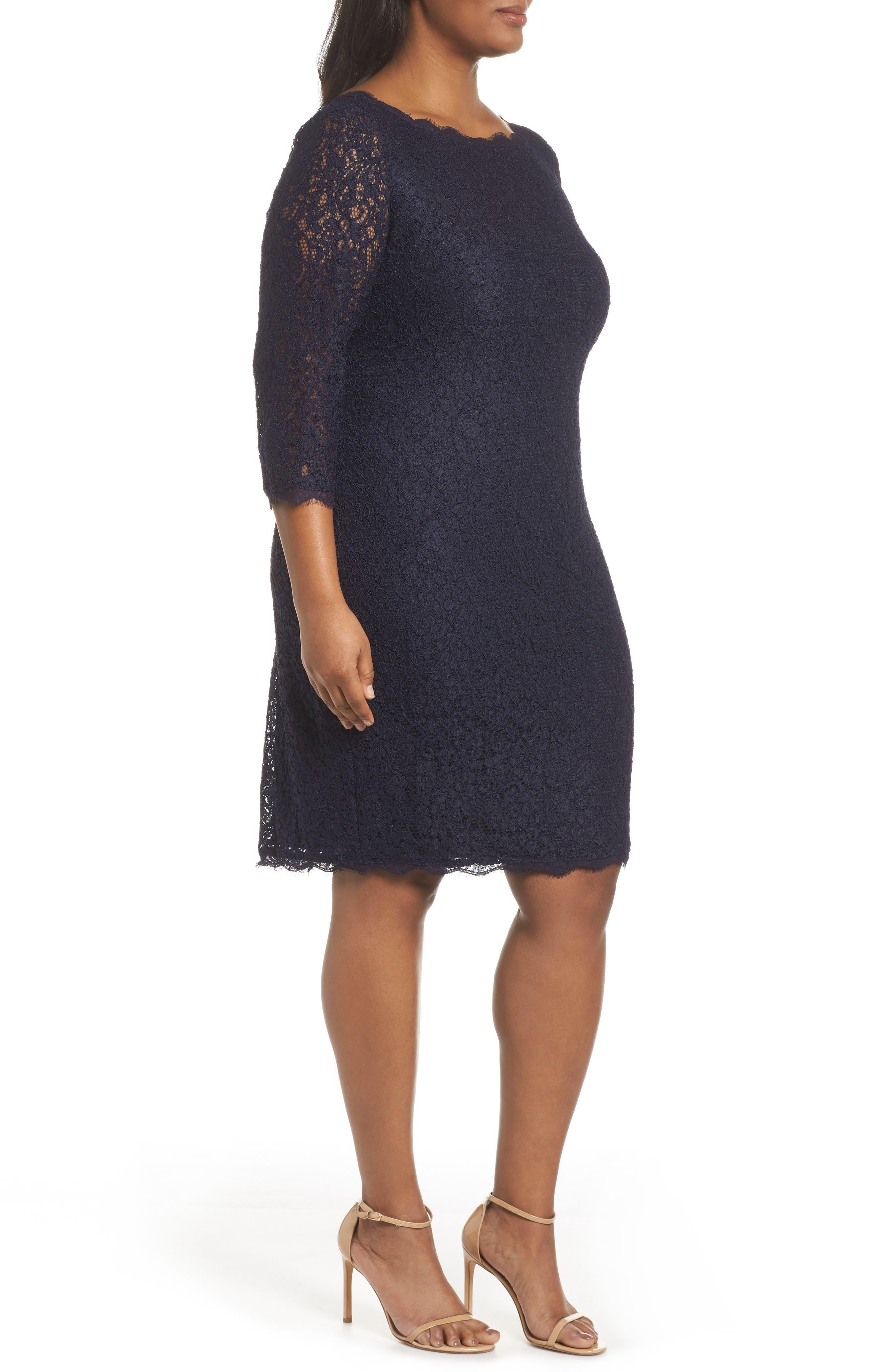 Lace Overlay Sheath Dress,                             Alternate thumbnail 2, color,                             Navy