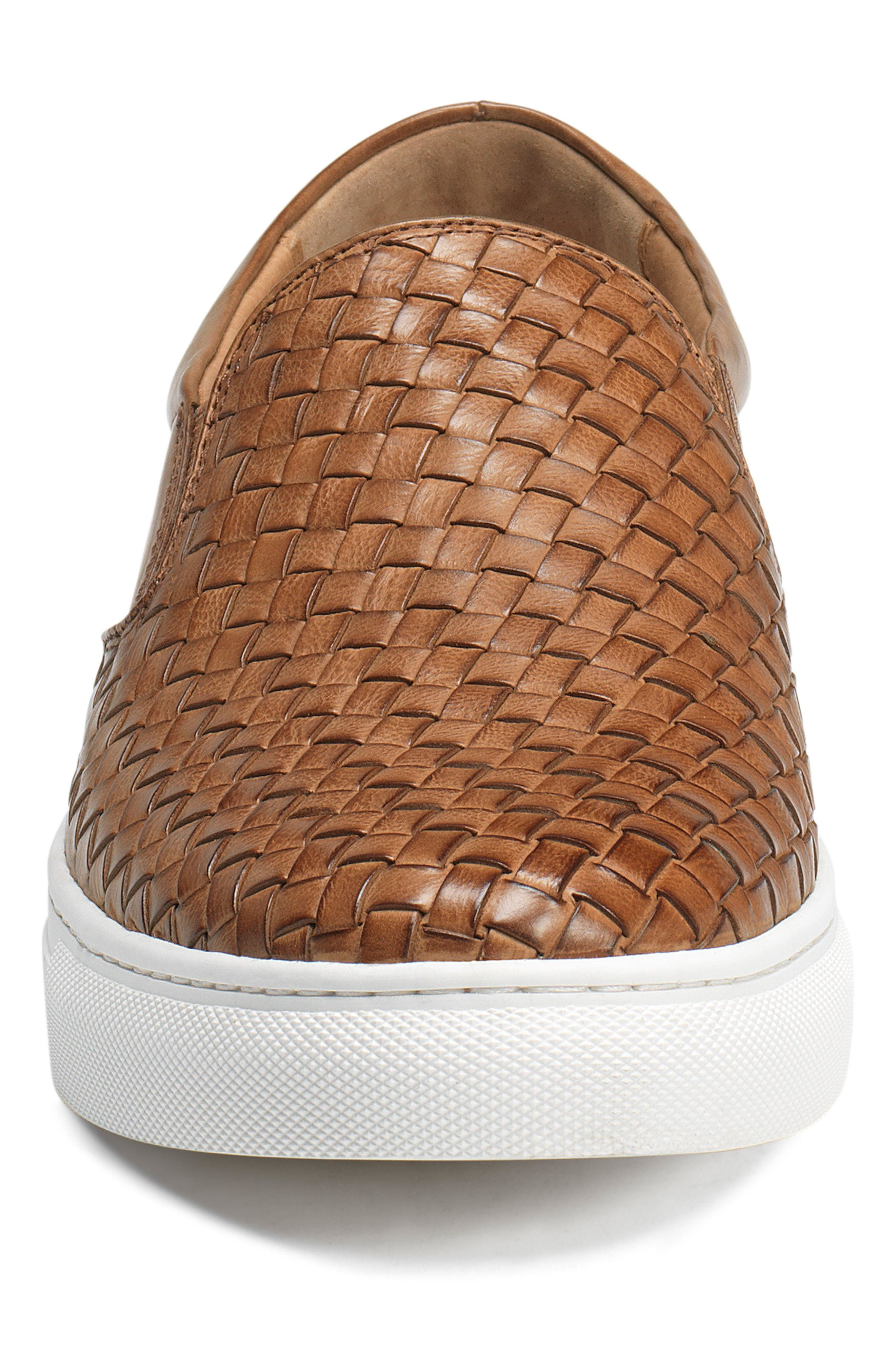 Alex Woven Slip-On Sneaker,                             Alternate thumbnail 4, color,                             Tan Leather
