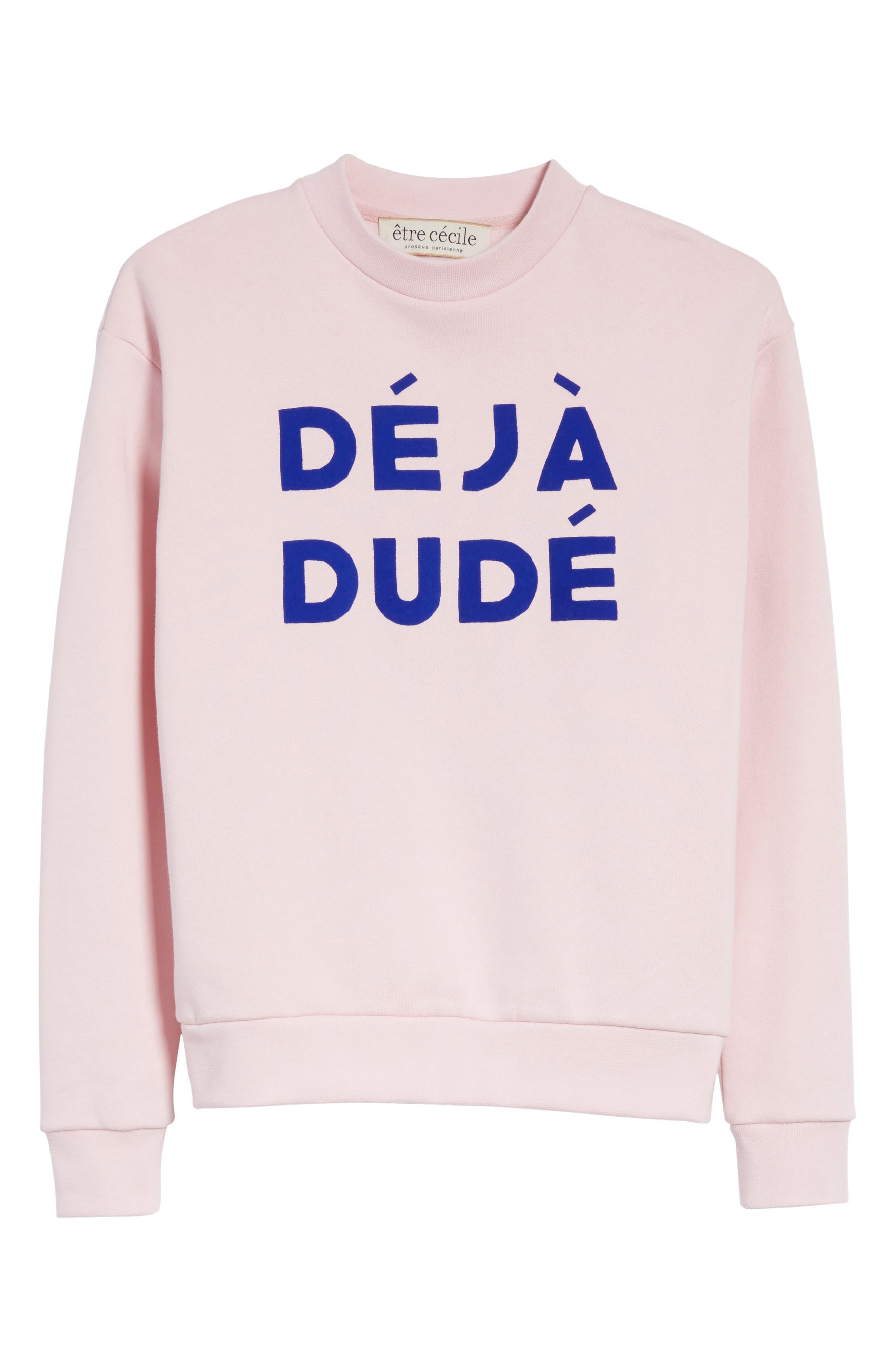 être cécile Déjà Dudé Boyfriend Sweatshirt,                             Alternate thumbnail 6, color,                             Chalk Pink