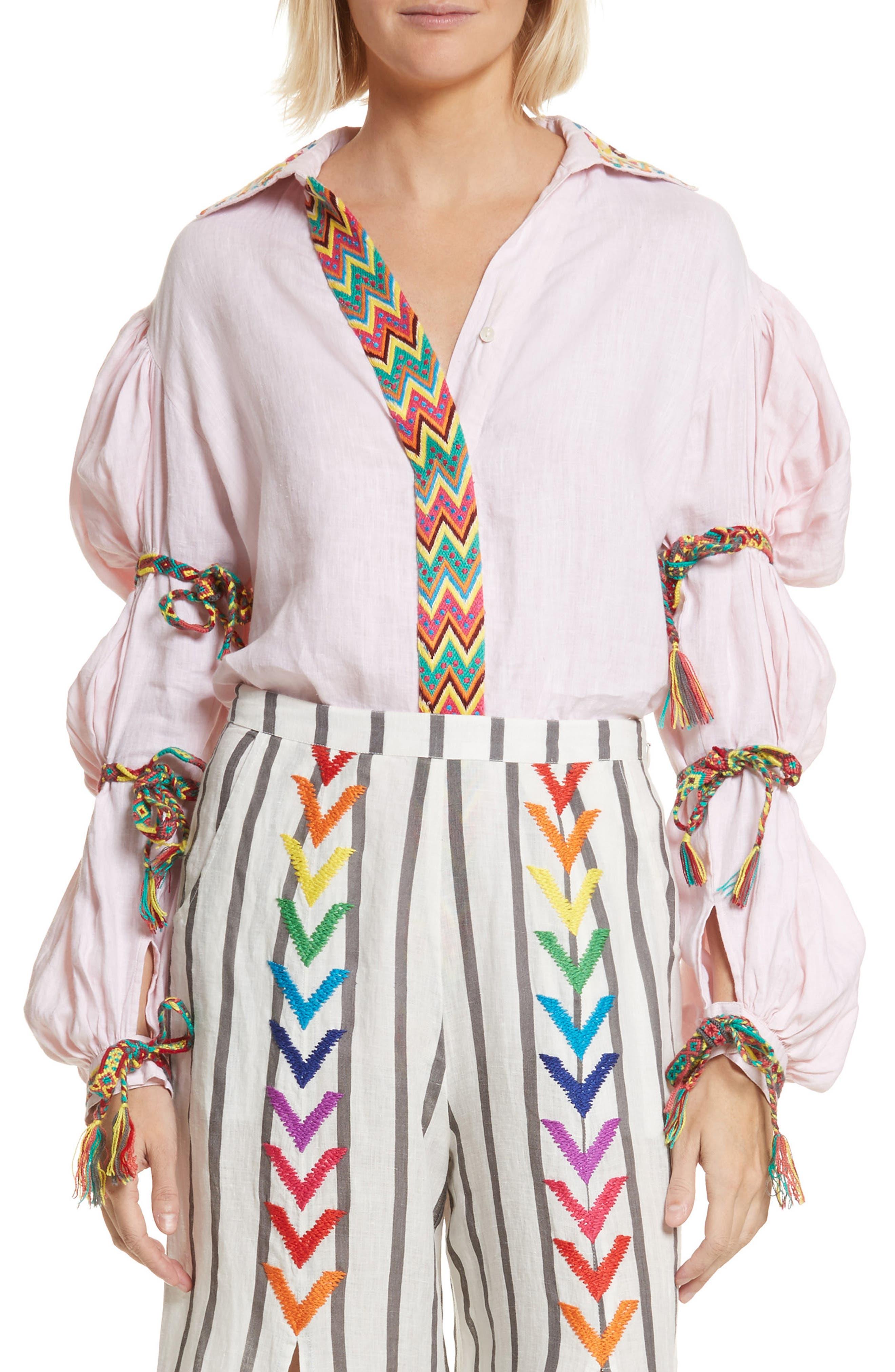 Lillian Bubble Sleeve Linen Shirt,                             Main thumbnail 1, color,                             Baby Pink