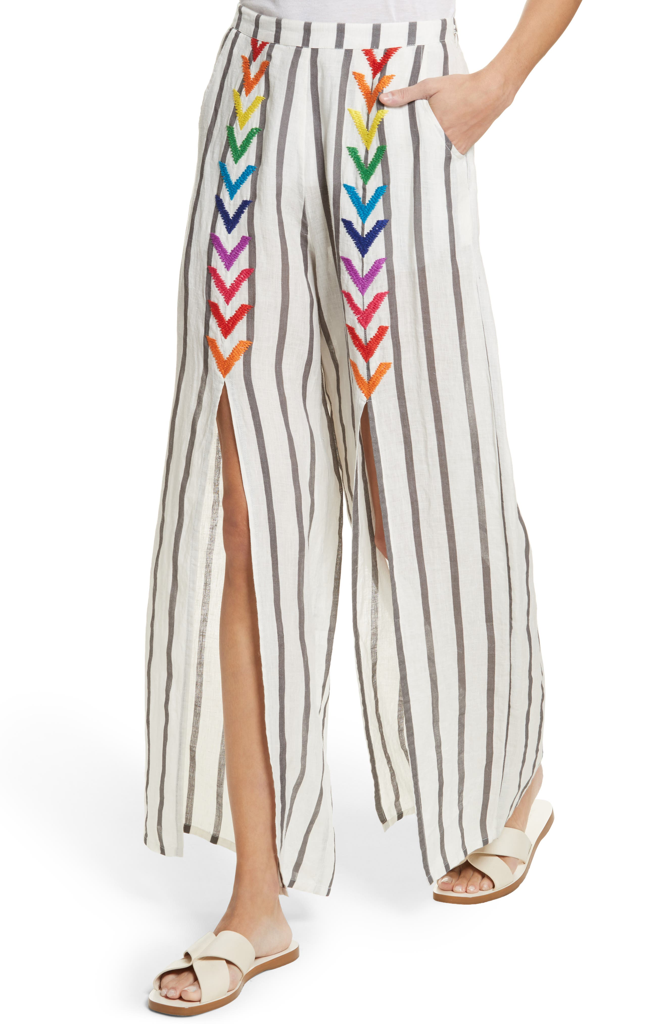 Andrea Embroidered Wide Leg Pants,                             Alternate thumbnail 4, color,                             Off White/ Grey