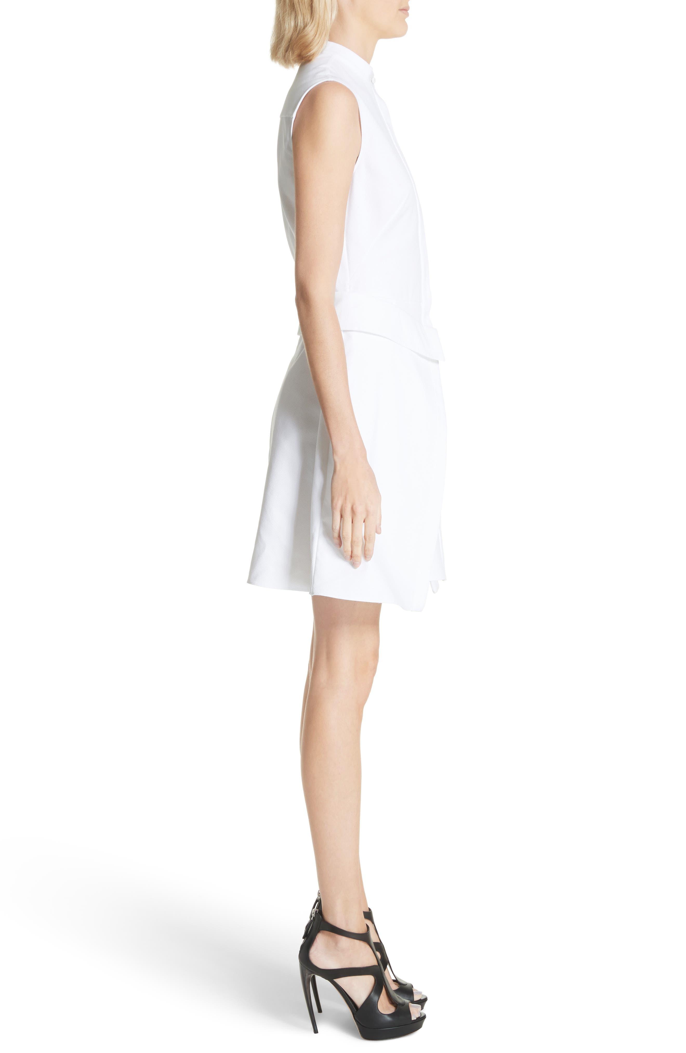 Peplum Hem Piqué Dress,                             Alternate thumbnail 4, color,                             Optic White