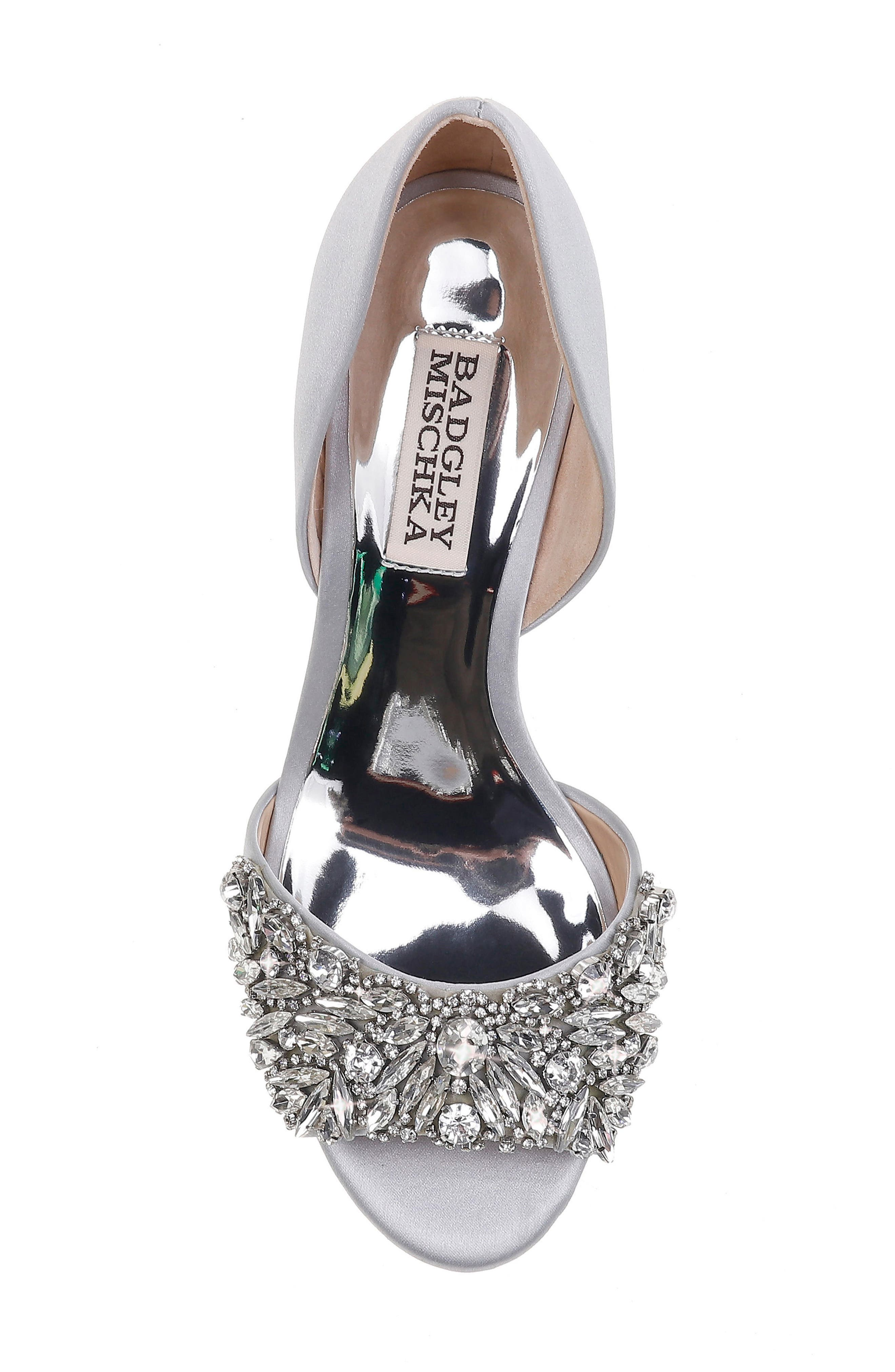 Hardy Embellished Wedge,                             Alternate thumbnail 5, color,                             Silver Satin