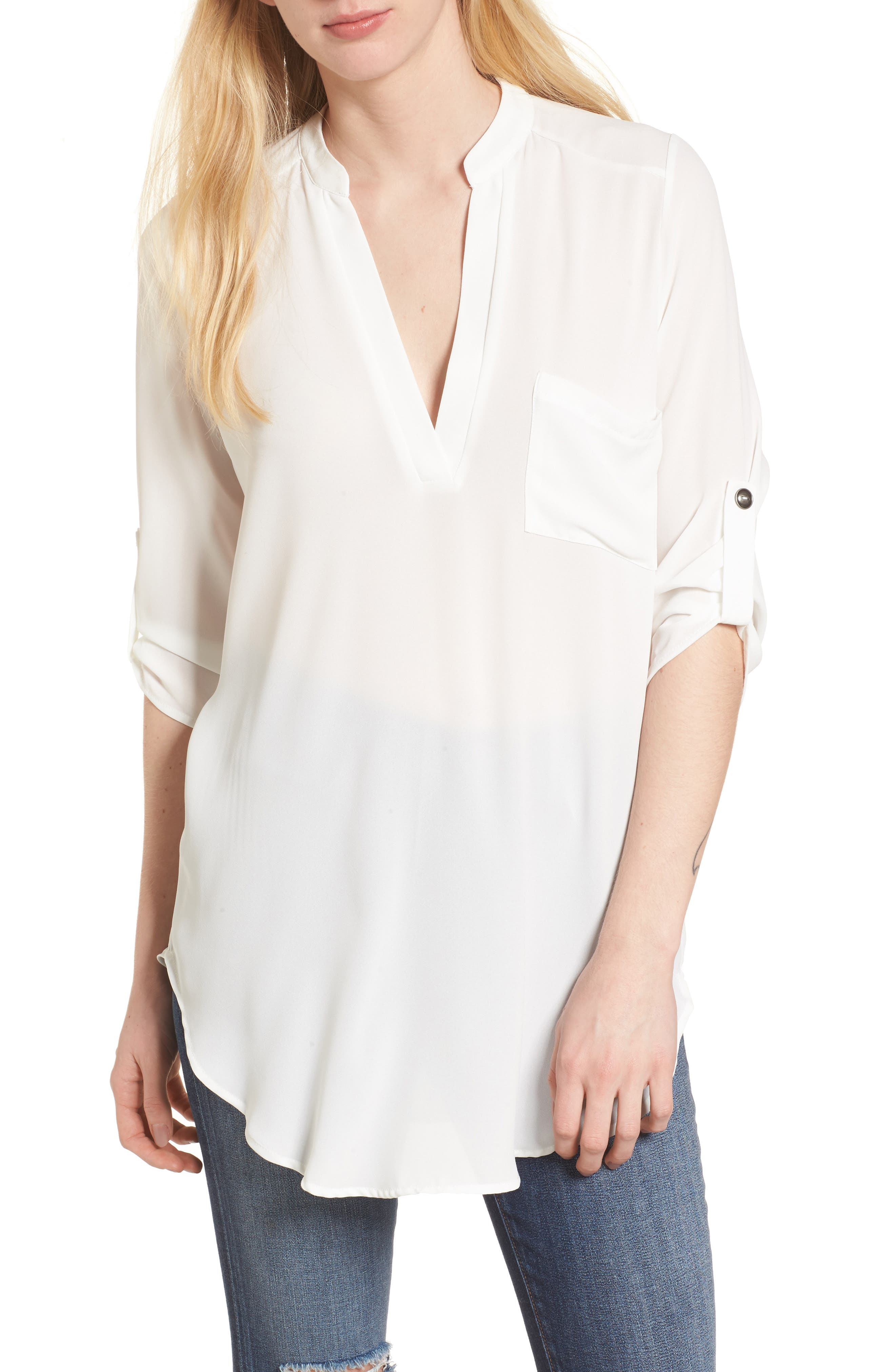 Perfect Roll Tab Sleeve Tunic,                         Main,                         color, Ivory