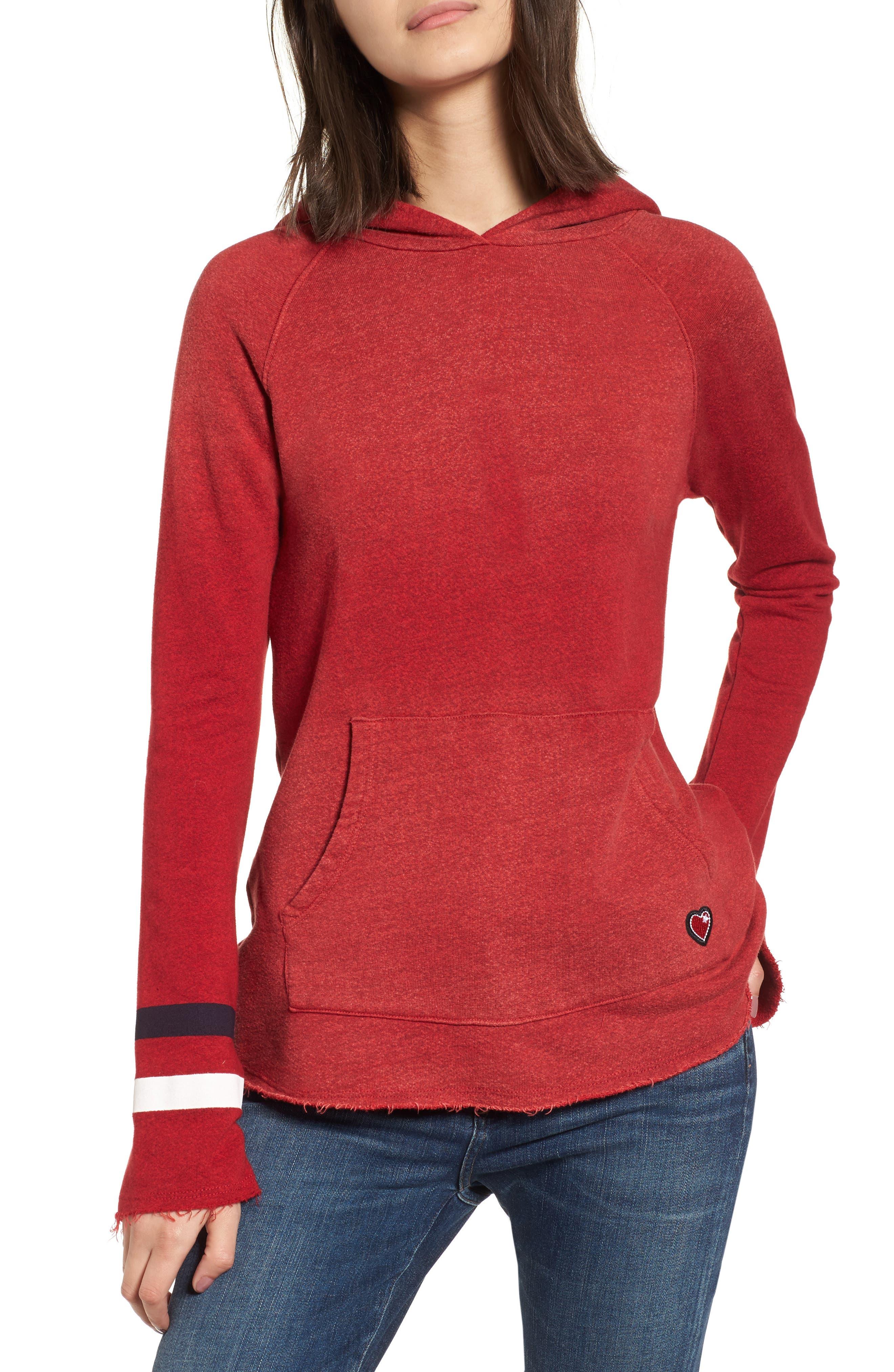 Bell Sleeve Terry Hoodie,                             Main thumbnail 1, color,                             Sun Faded Crimson