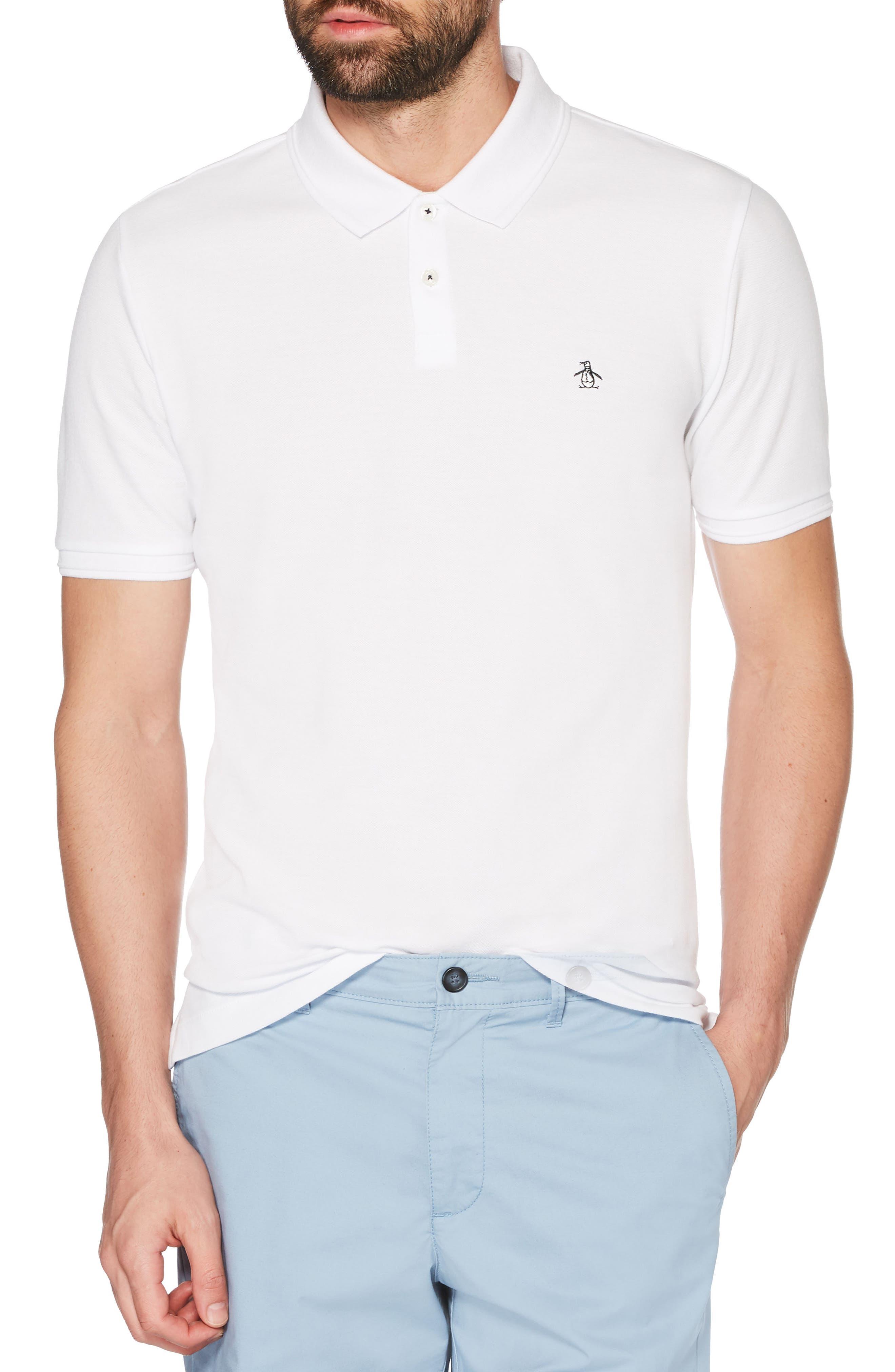 Daddy-O Piqué Polo,                         Main,                         color, Bright White
