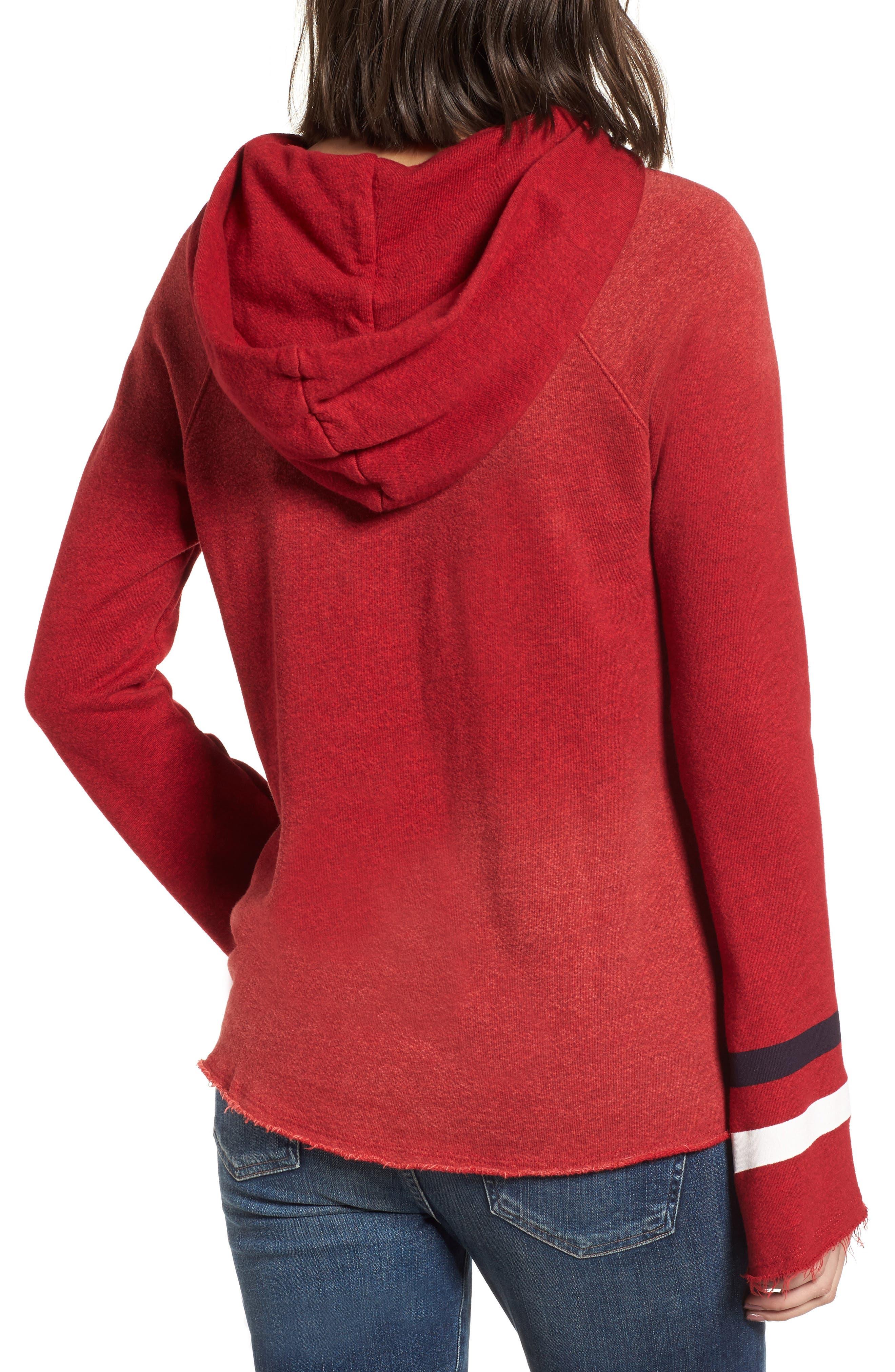 Bell Sleeve Terry Hoodie,                             Alternate thumbnail 2, color,                             Sun Faded Crimson