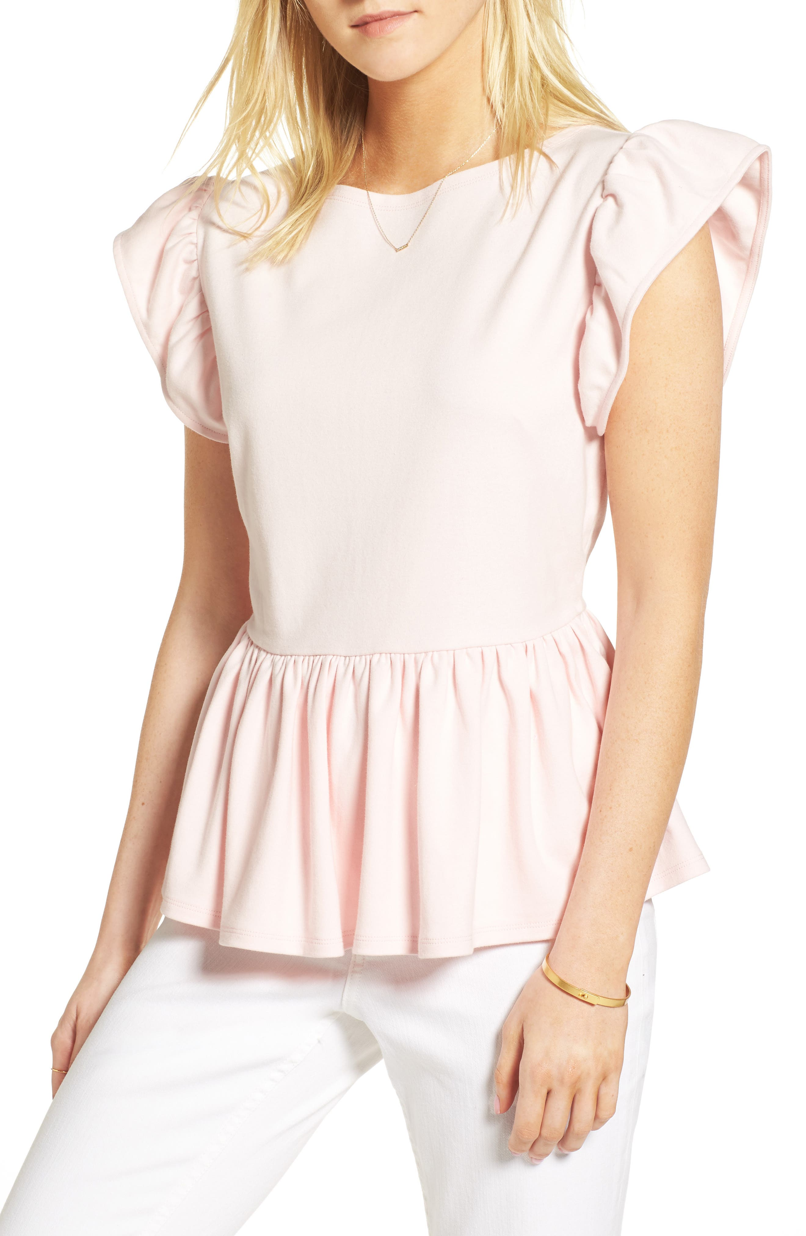 Stripe Knit Peplum Top,                             Main thumbnail 1, color,                             Pink Potpourri