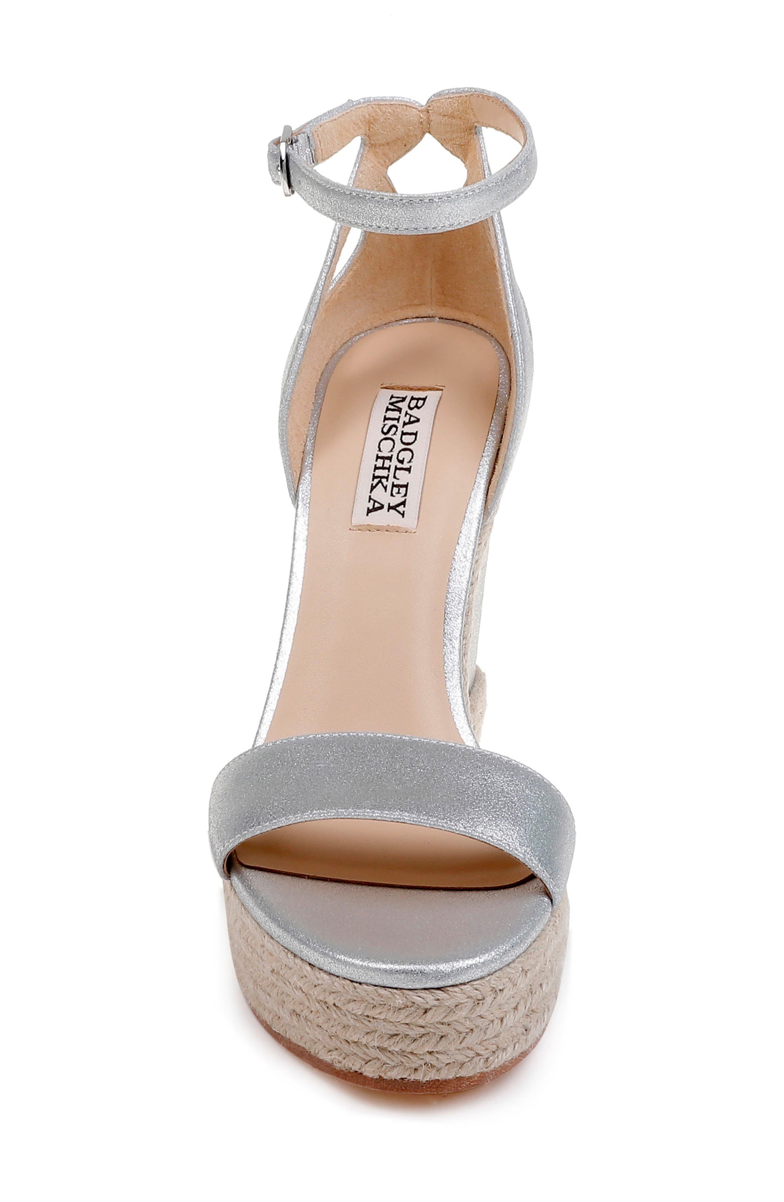 Honest Espadrille Wedge Sandal,                             Alternate thumbnail 4, color,                             Silver Metallic Suede