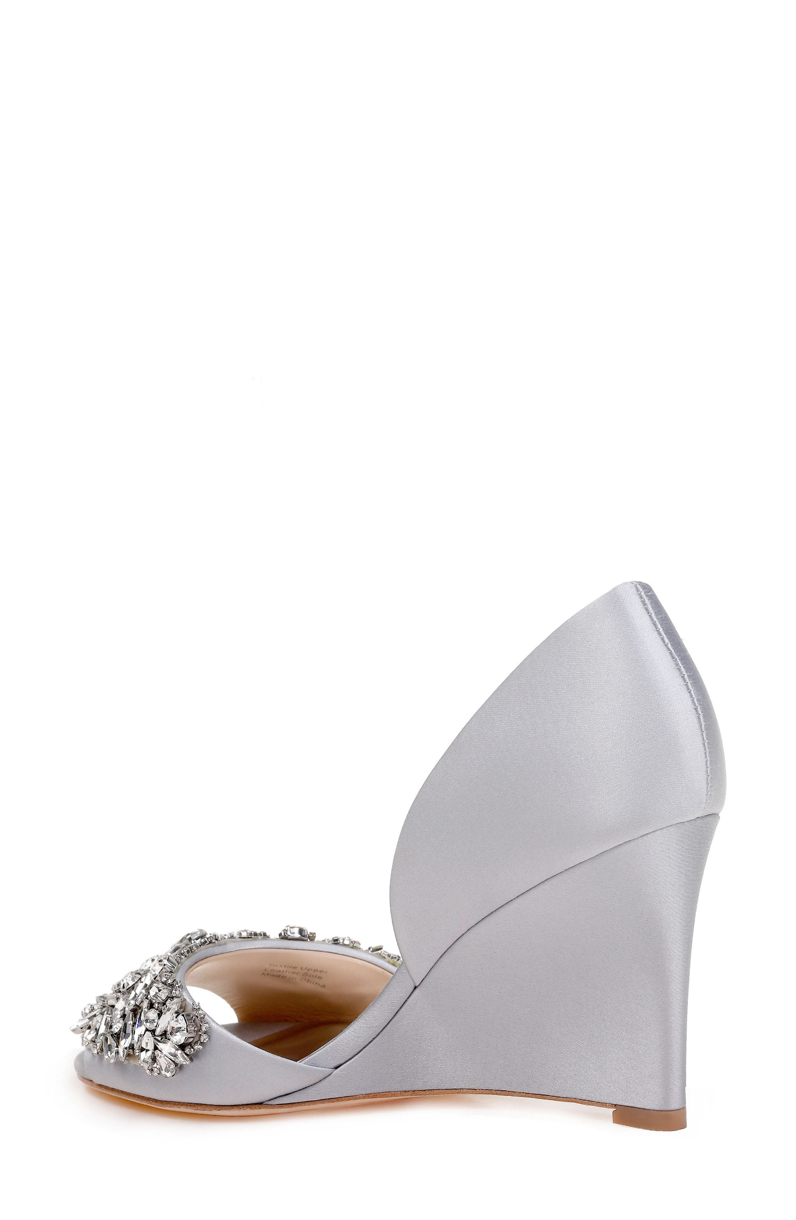 Hardy Embellished Wedge,                             Alternate thumbnail 2, color,                             Silver Satin