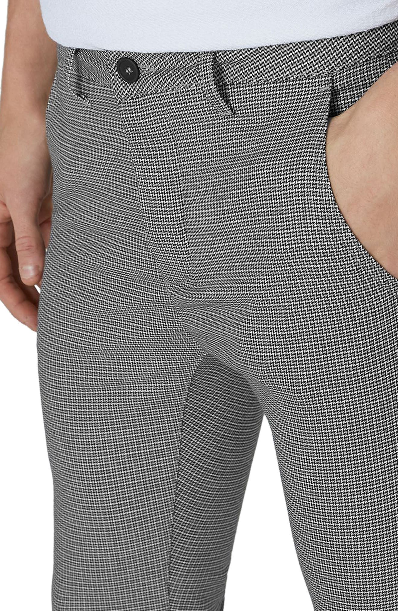 Mini Houndstooth Stretch Skinny Fit Trousers,                             Alternate thumbnail 3, color,                             Grey Multi
