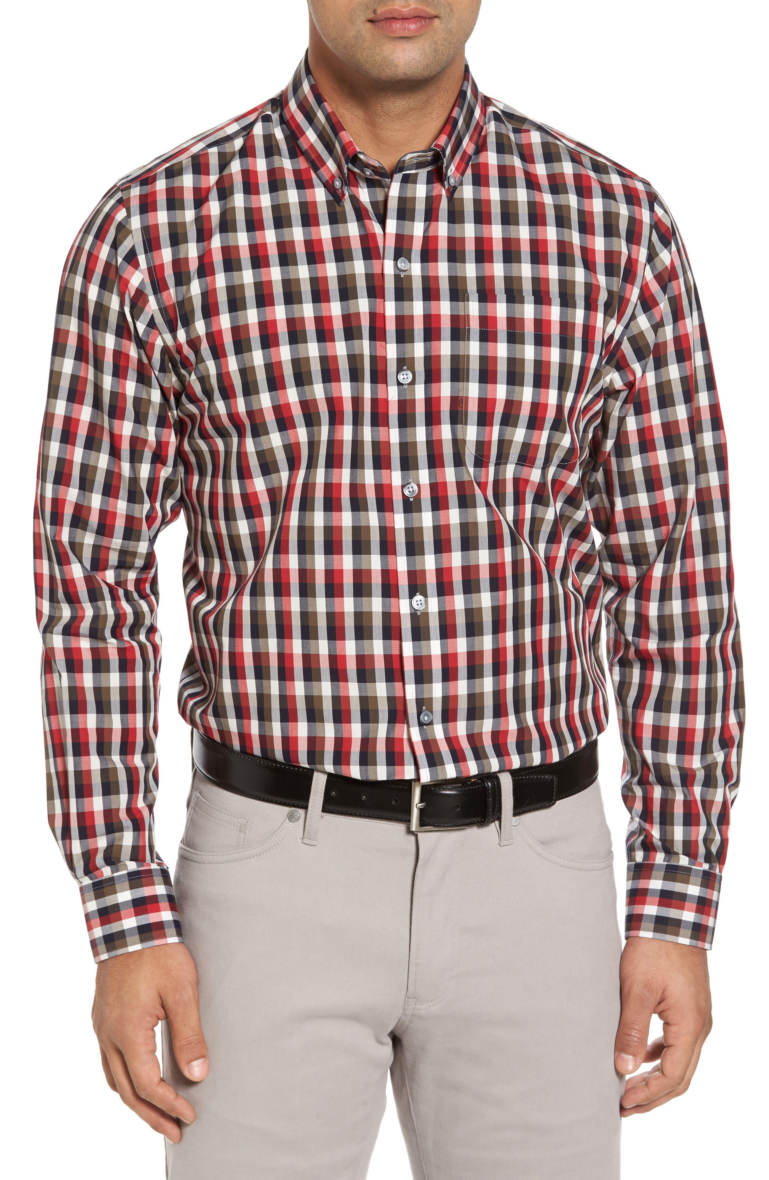 Sawyer Check Non-Iron Sport Shirt,                         Main,                         color, Sedona