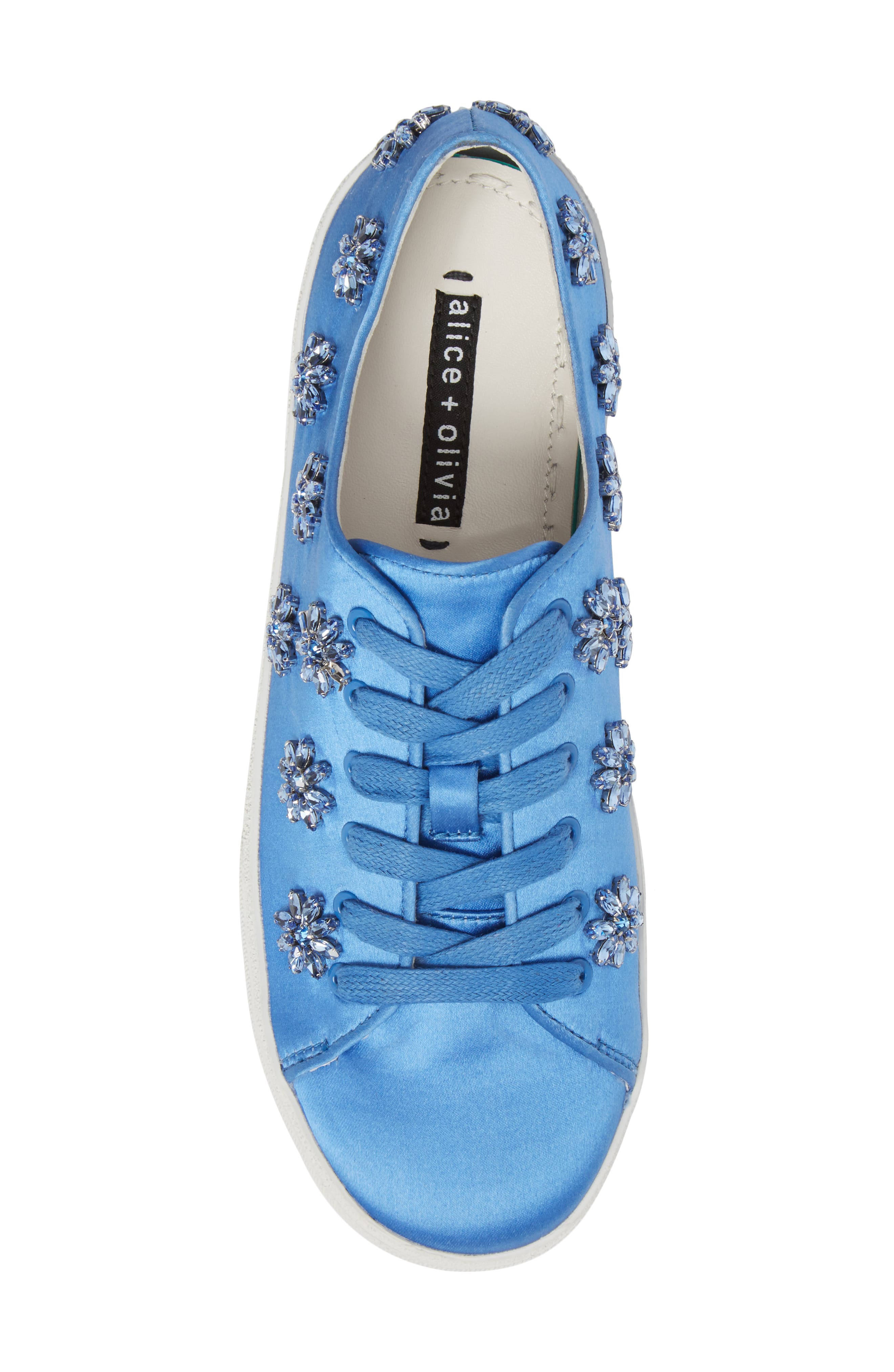 Cleo Crystal Embellished Sneaker,                             Alternate thumbnail 5, color,                             Cerulean