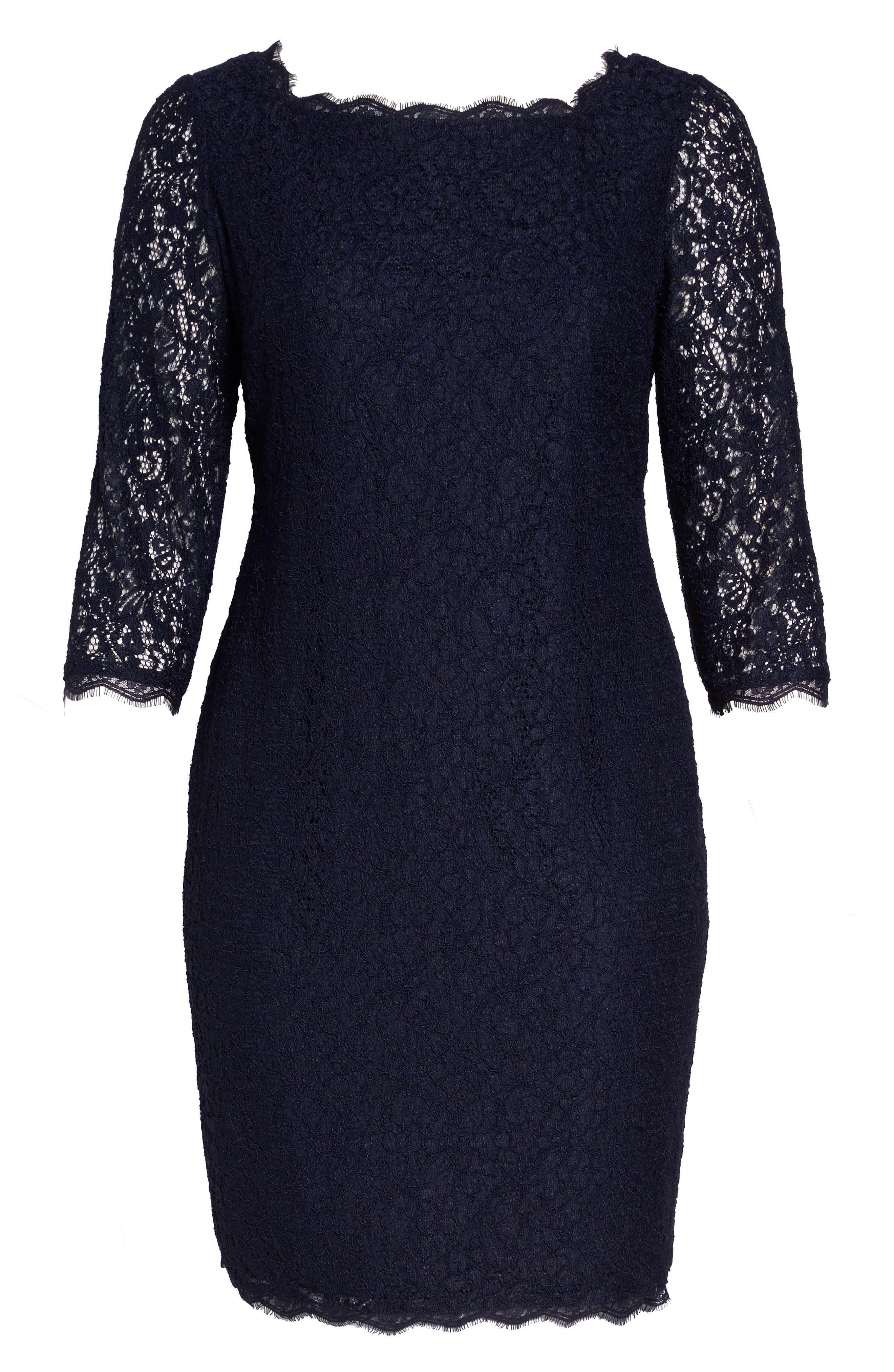 Lace Overlay Sheath Dress,                             Alternate thumbnail 6, color,                             Navy