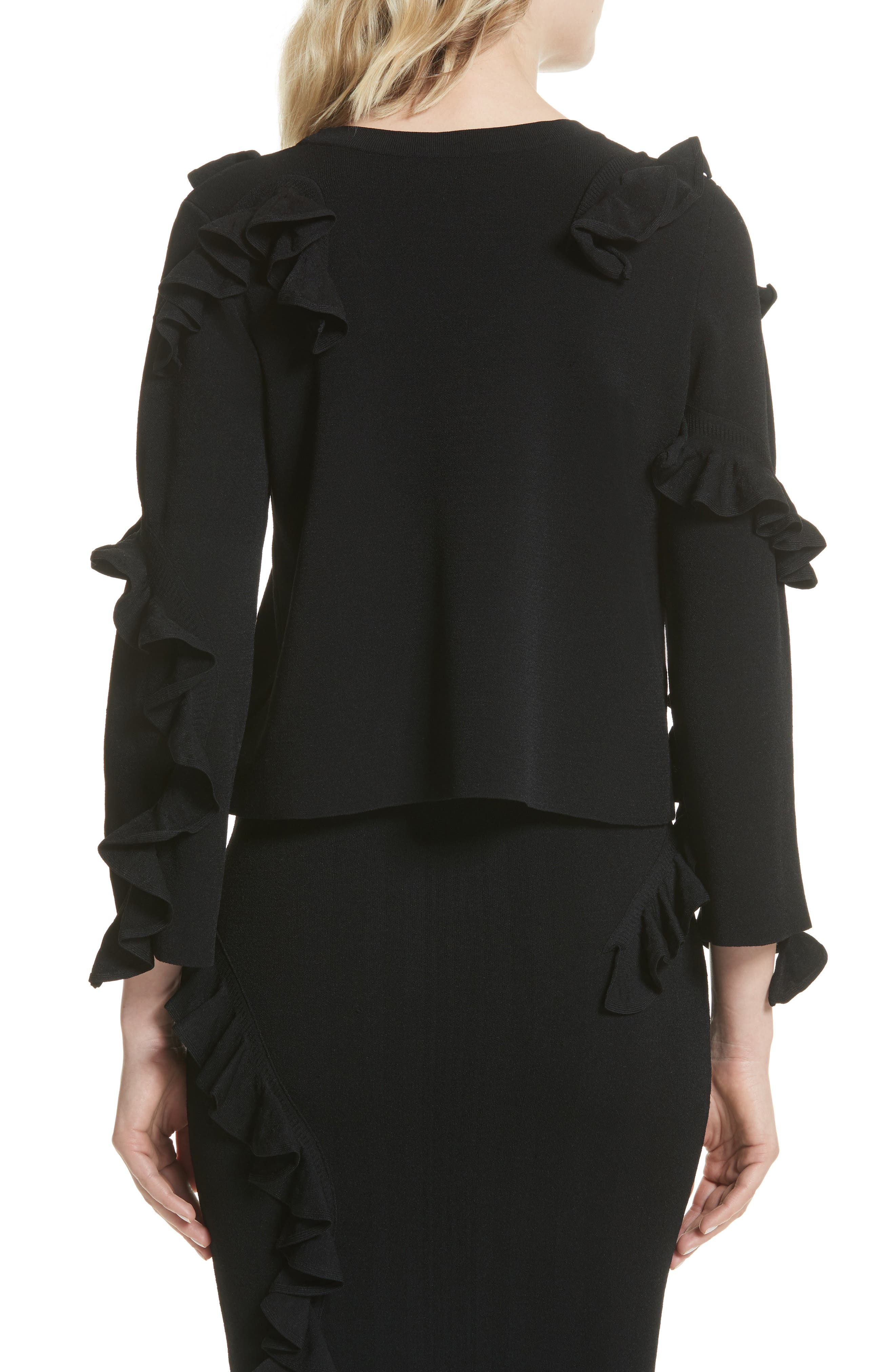 Abstract Ruffle Pullover,                             Alternate thumbnail 2, color,                             Black