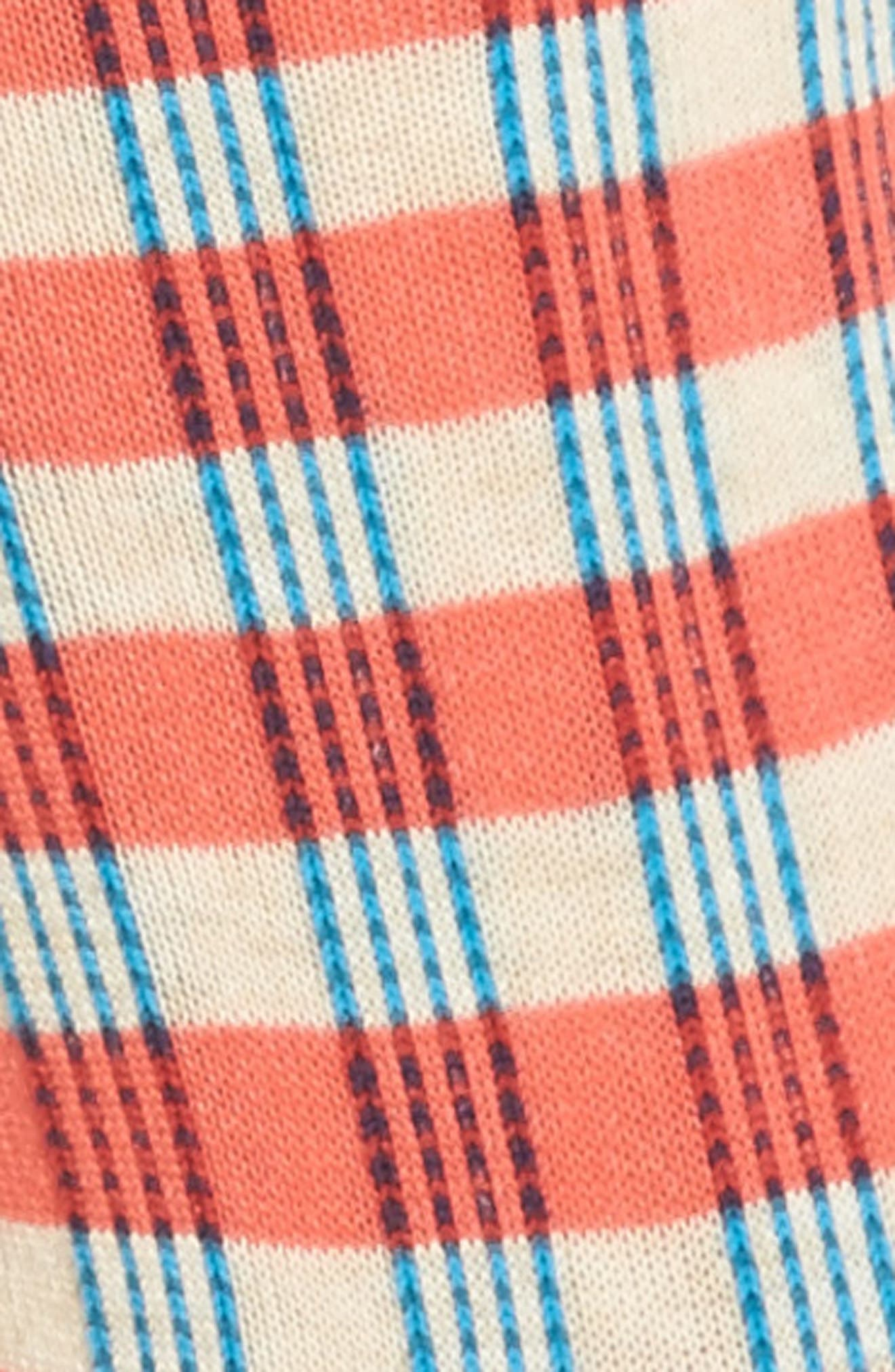 Gingham Crew Socks,                             Alternate thumbnail 2, color,                             Deep Coral