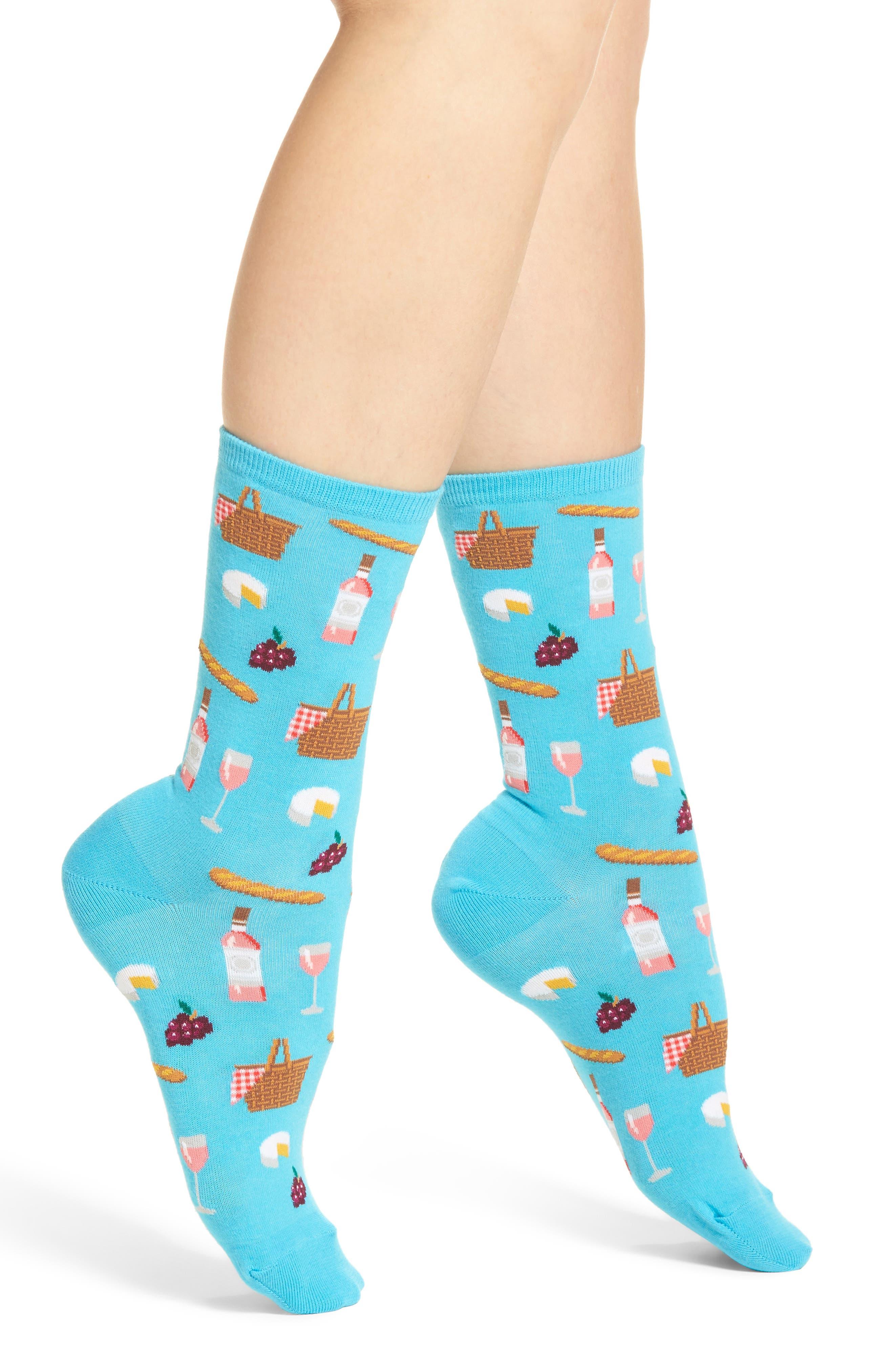 Picnic Crew Socks,                         Main,                         color, Light Blue