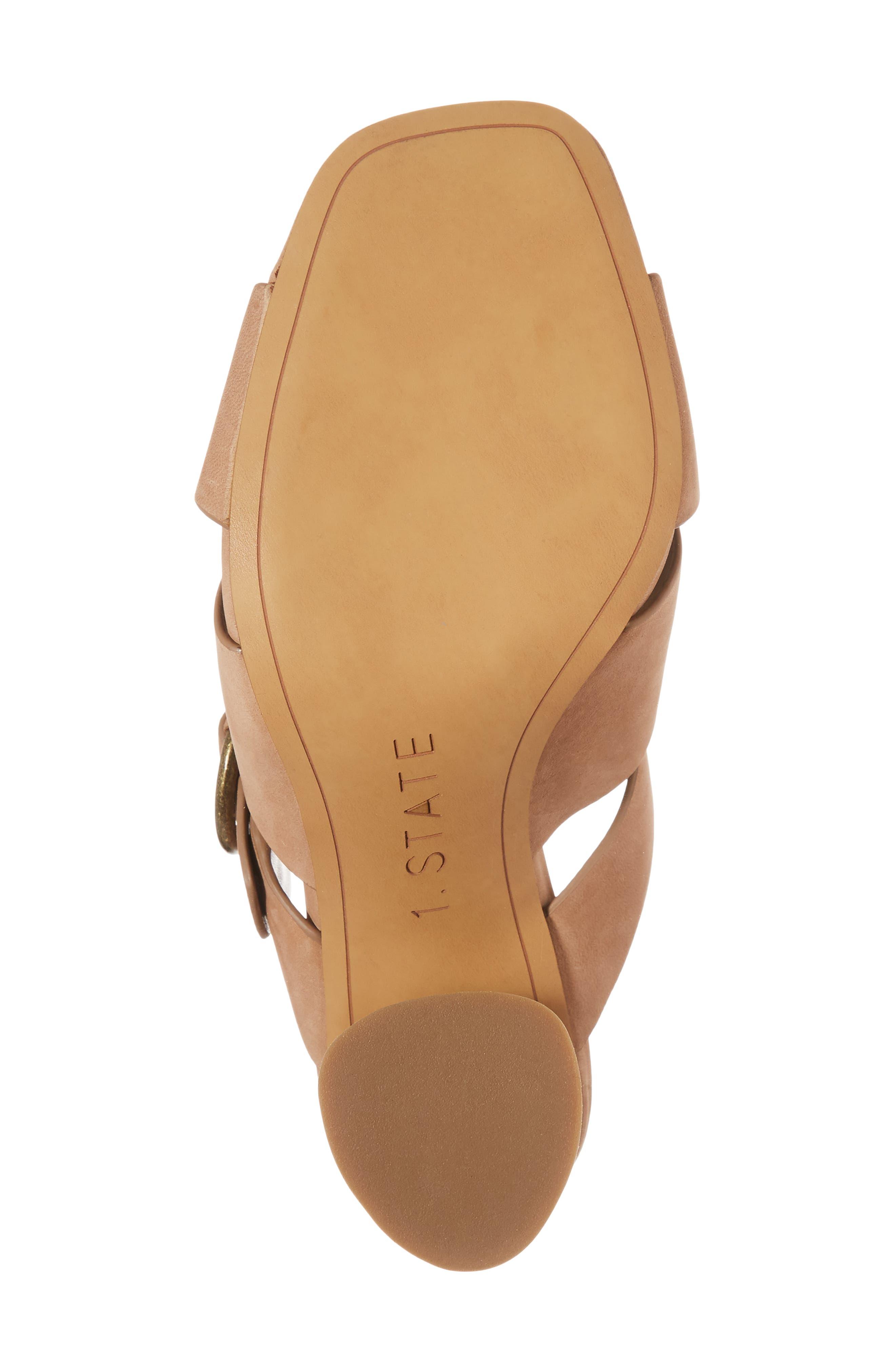 Icendra Flared Heel Mule Sandal,                             Alternate thumbnail 6, color,                             Teak Leather