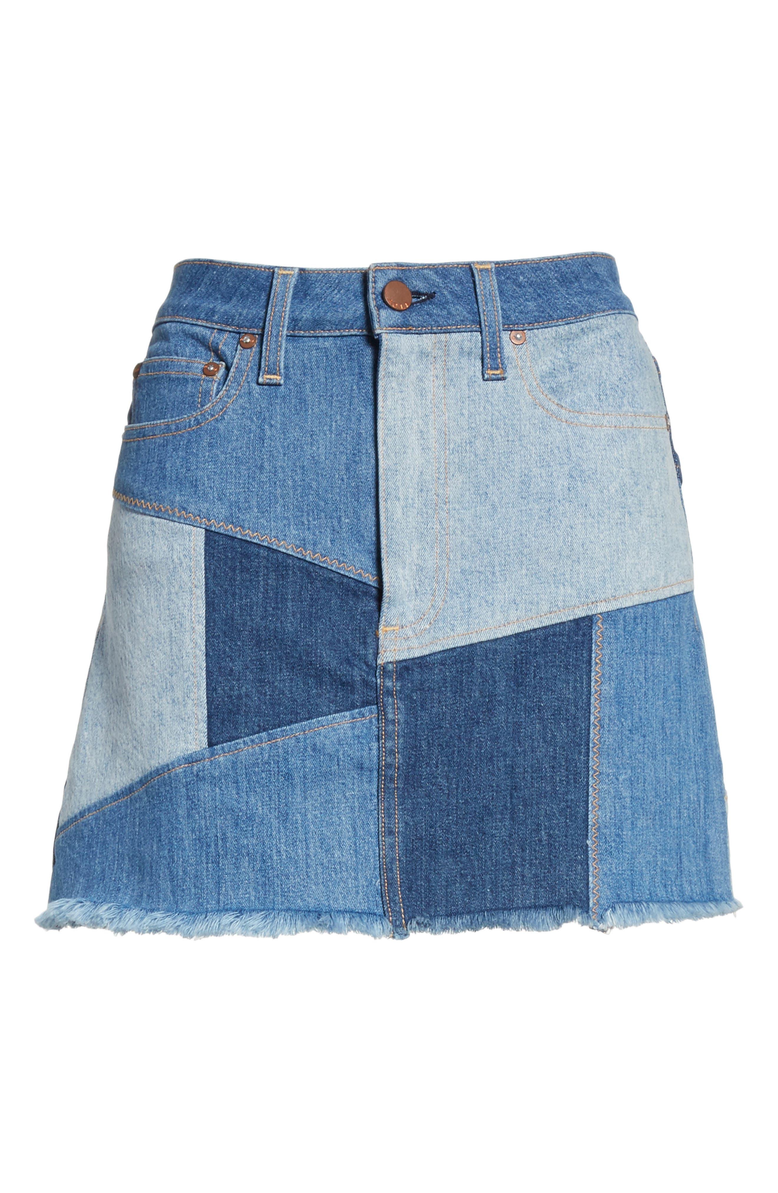 AO.LA Patchwork Denim Miniskirt,                             Alternate thumbnail 6, color,                             Keep Steppin