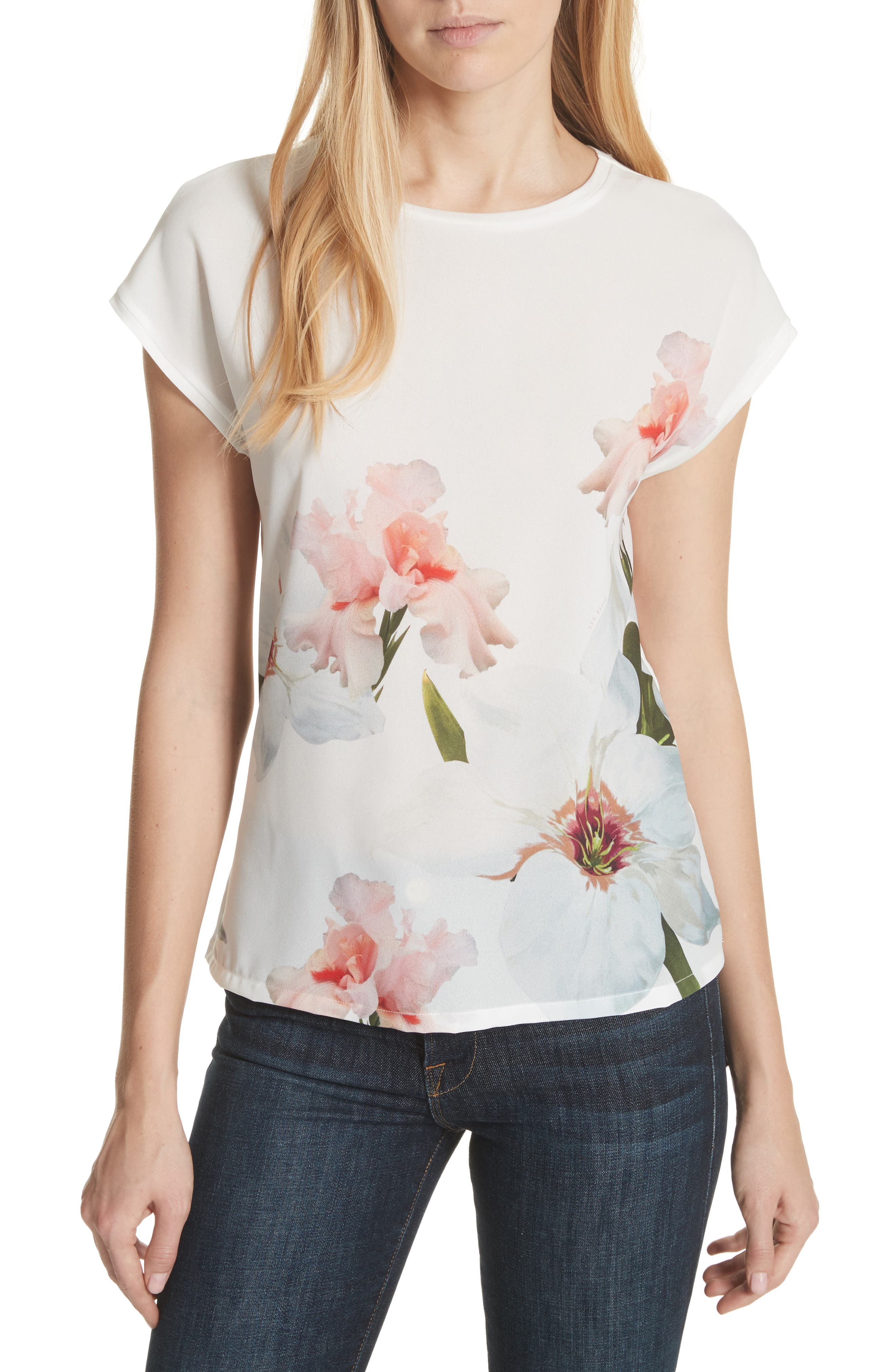 Chatsworth Bloom Tee,                         Main,                         color, White