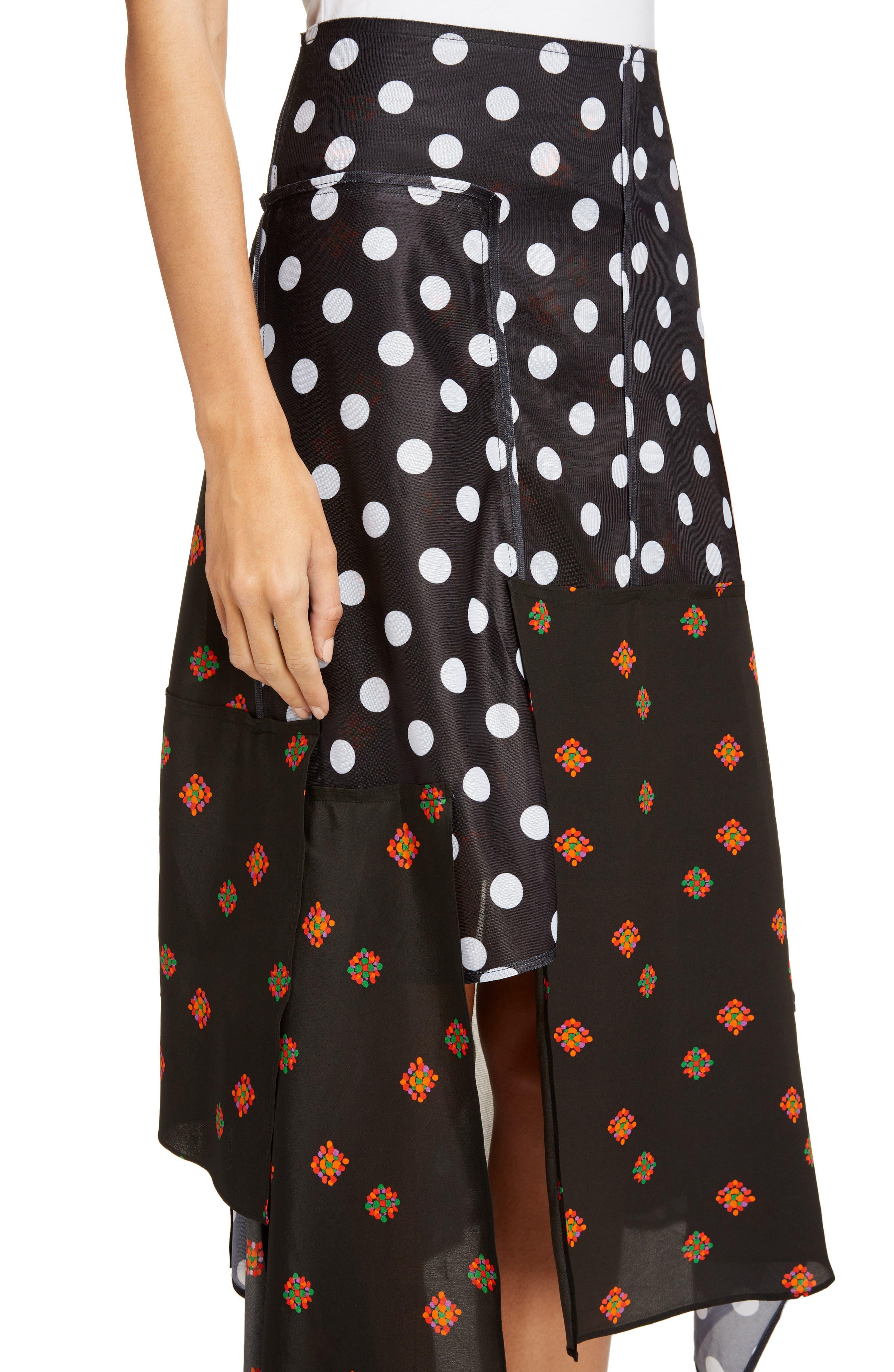 Polka Dot & Floral Panel Skirt,                             Alternate thumbnail 4, color,                             Black