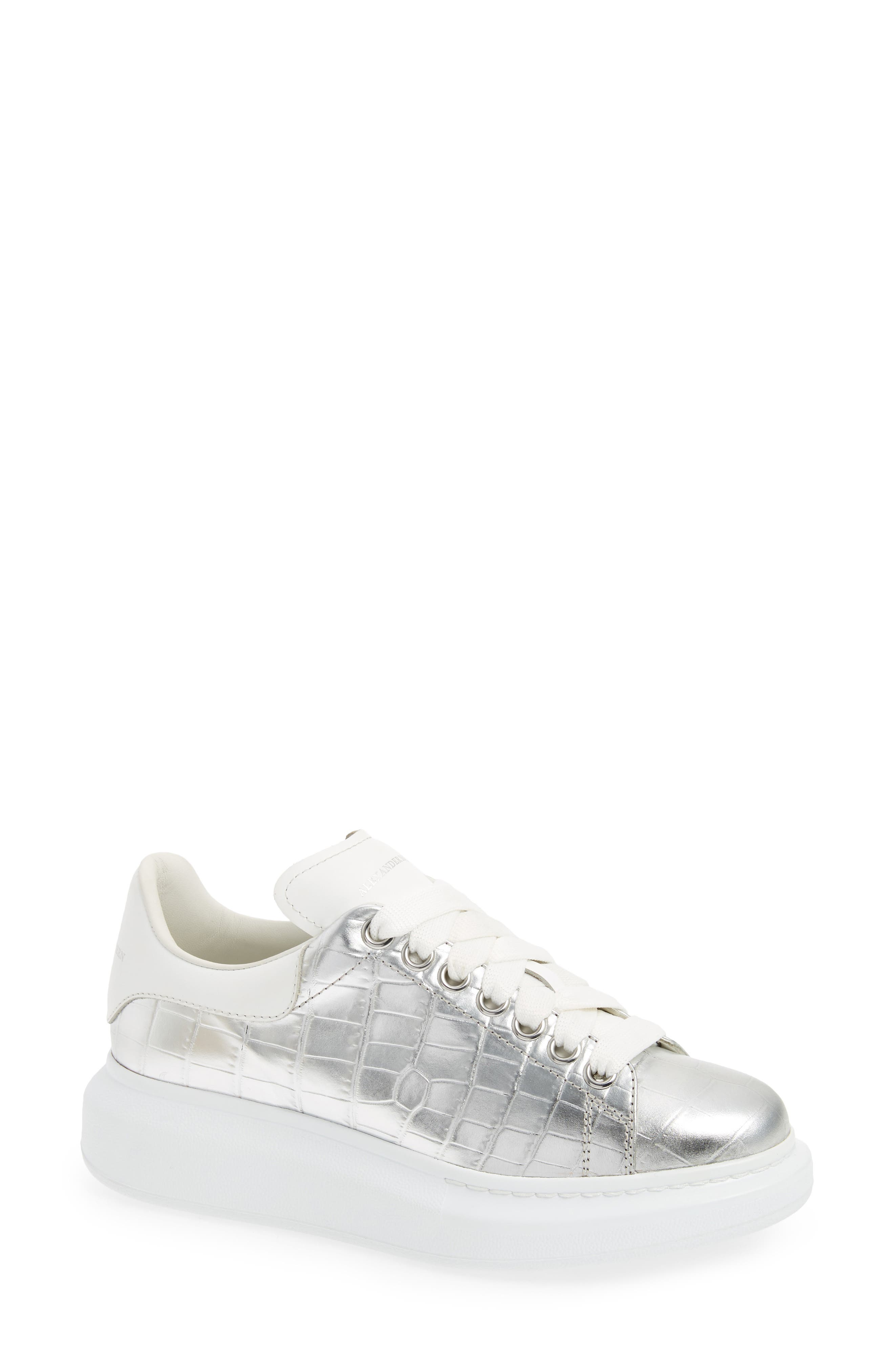 Croc Embossed Lace-Up Sneaker,                             Main thumbnail 1, color,                             Metallic Silver