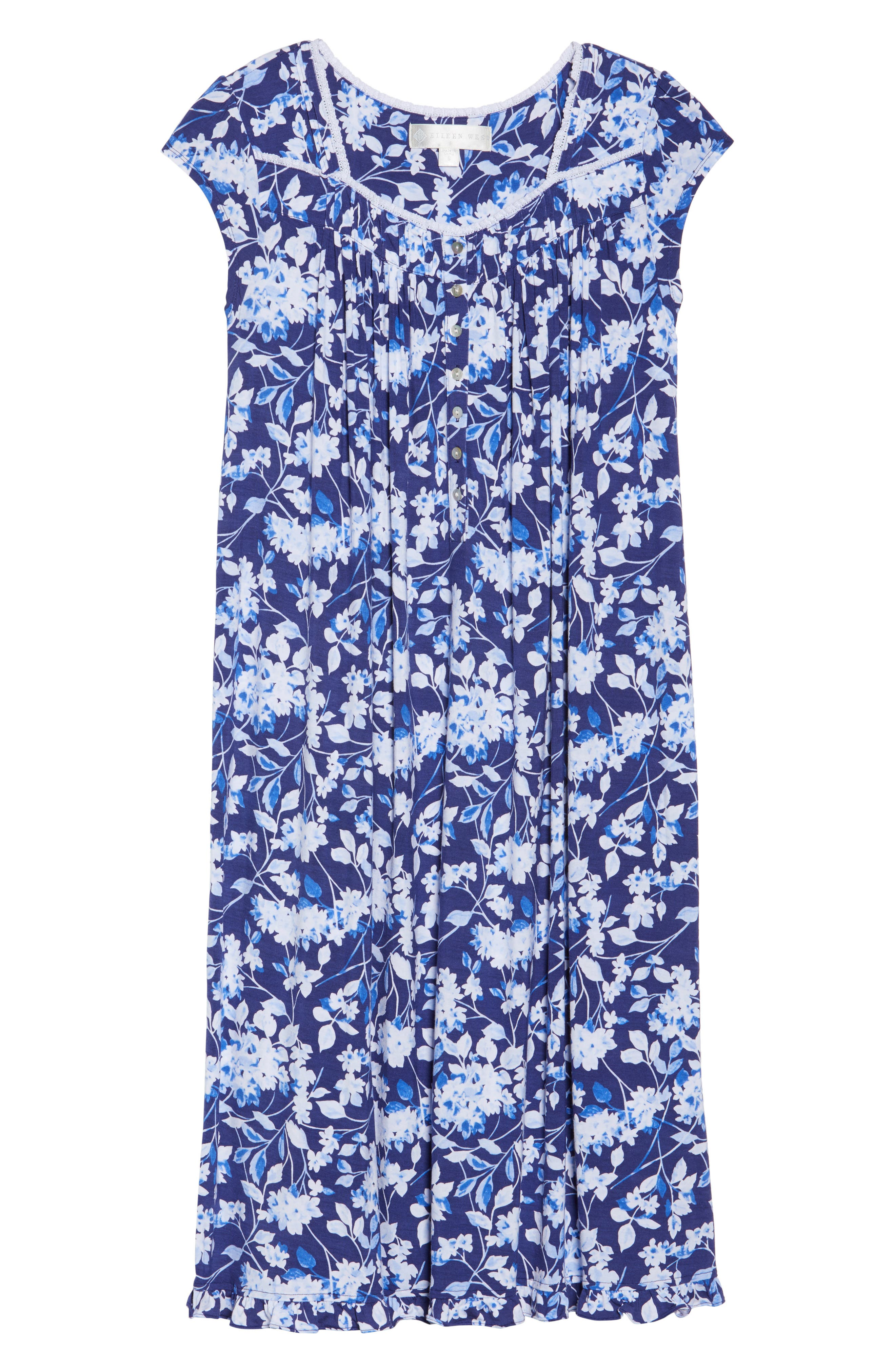 Waltz Nightgown,                             Alternate thumbnail 4, color,                             Blue Multi Floral