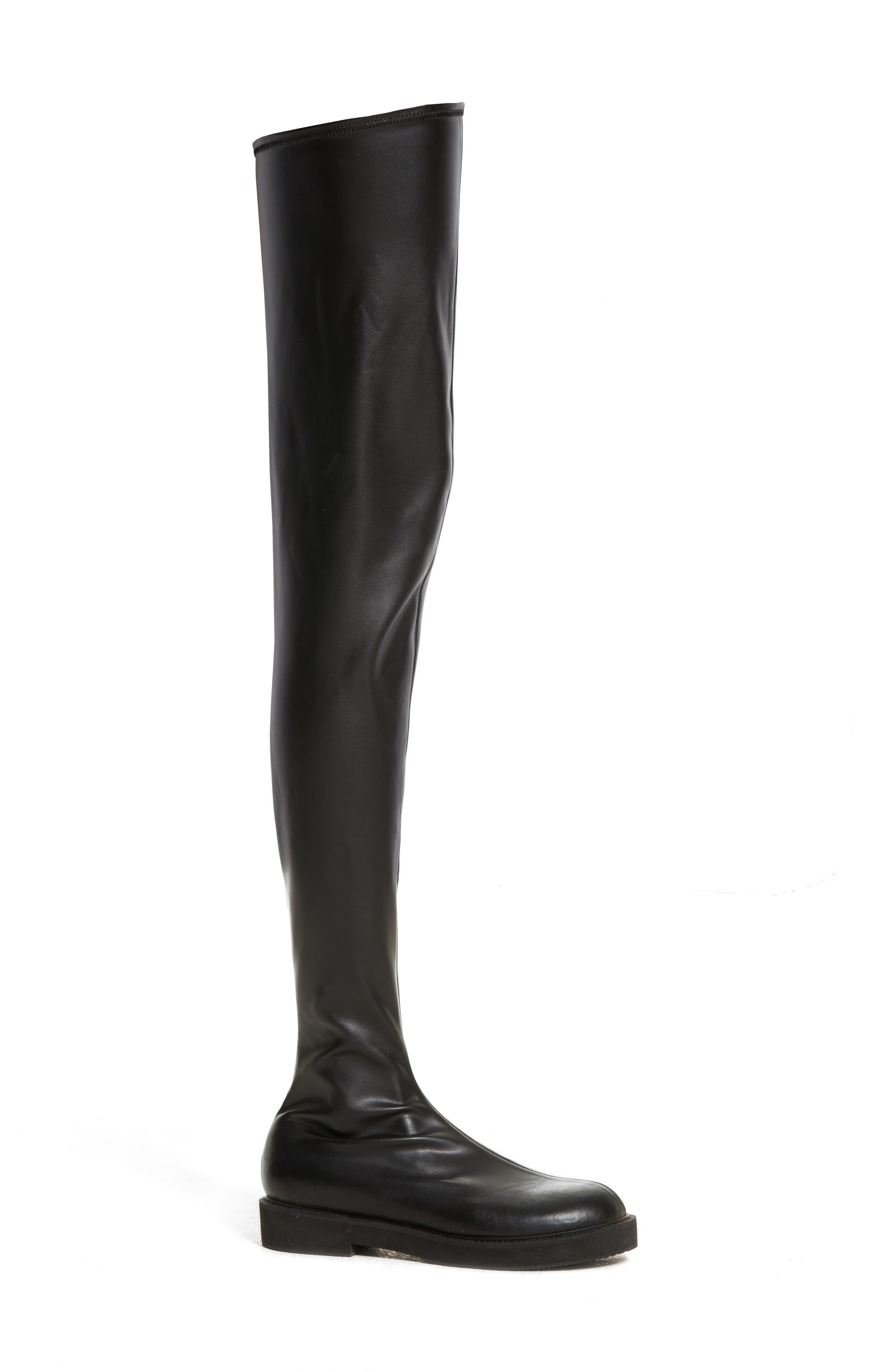 Faux Leather Over the Knee Boot,                             Alternate thumbnail 3, color,                             Black