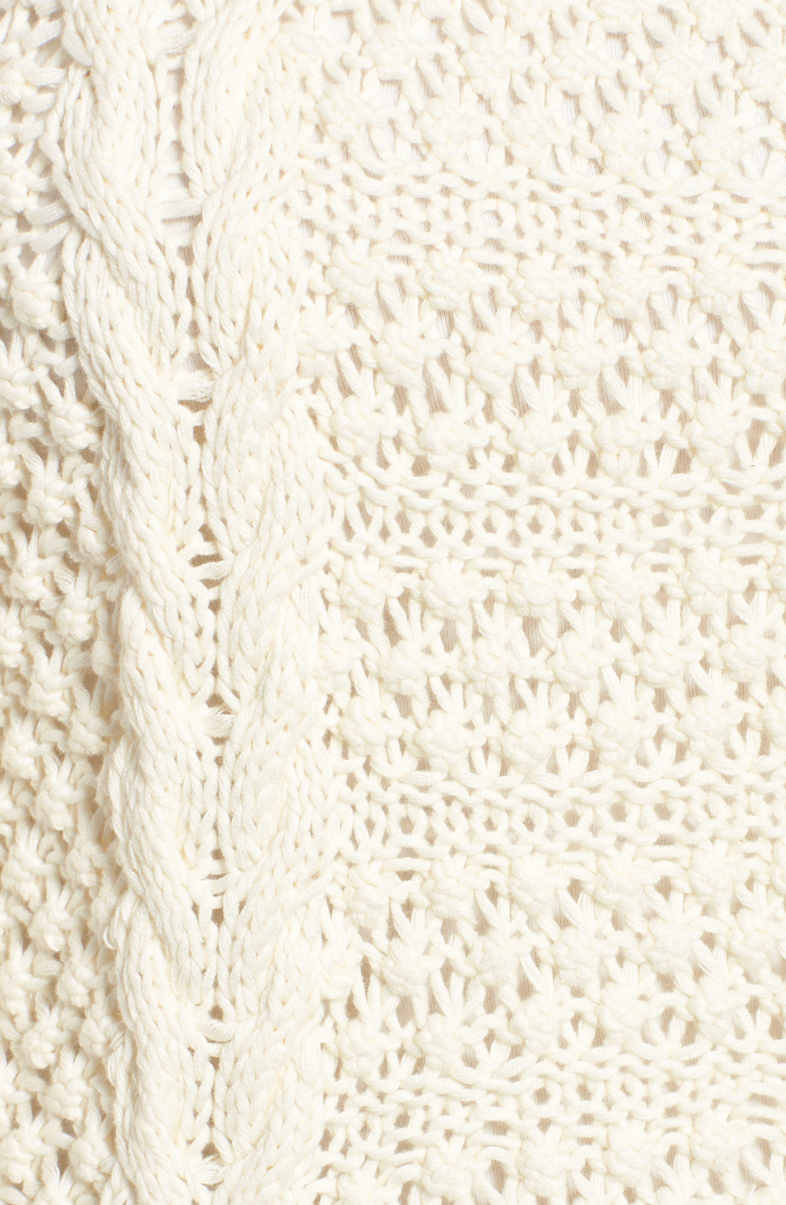 Popcorn Cable Sweater,                             Alternate thumbnail 5, color,                             Milk White