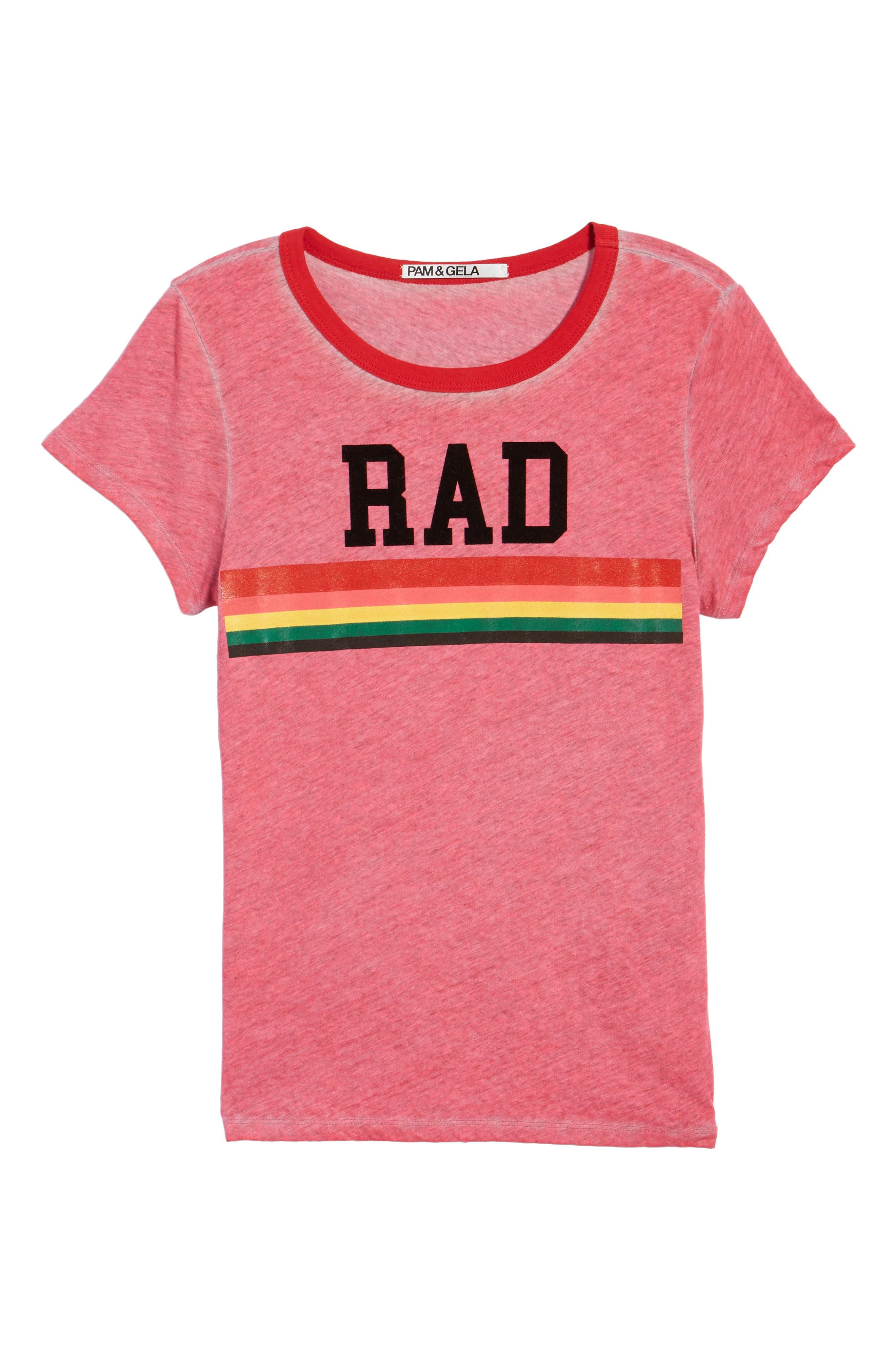 Rad Rainbow Ringer Tee,                             Alternate thumbnail 6, color,                             Neon Pink