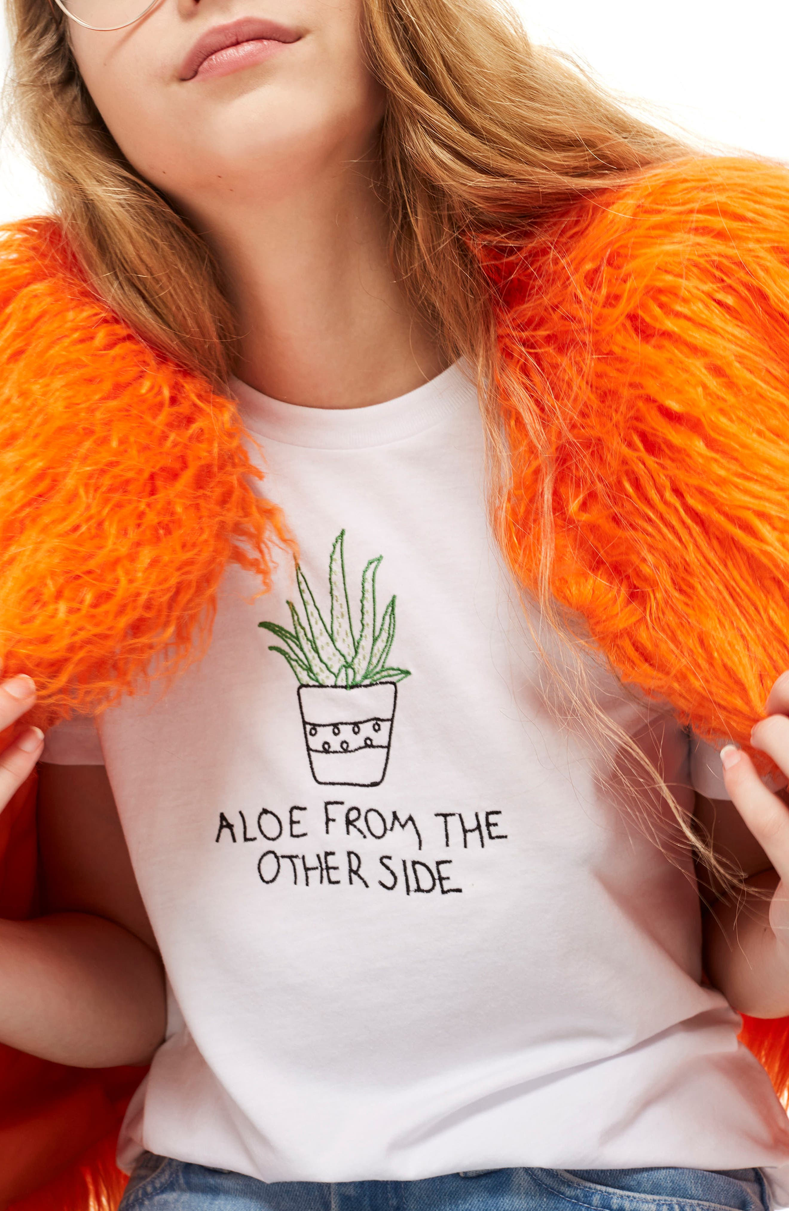 Aloe Embroidered Tee,                         Main,                         color, White