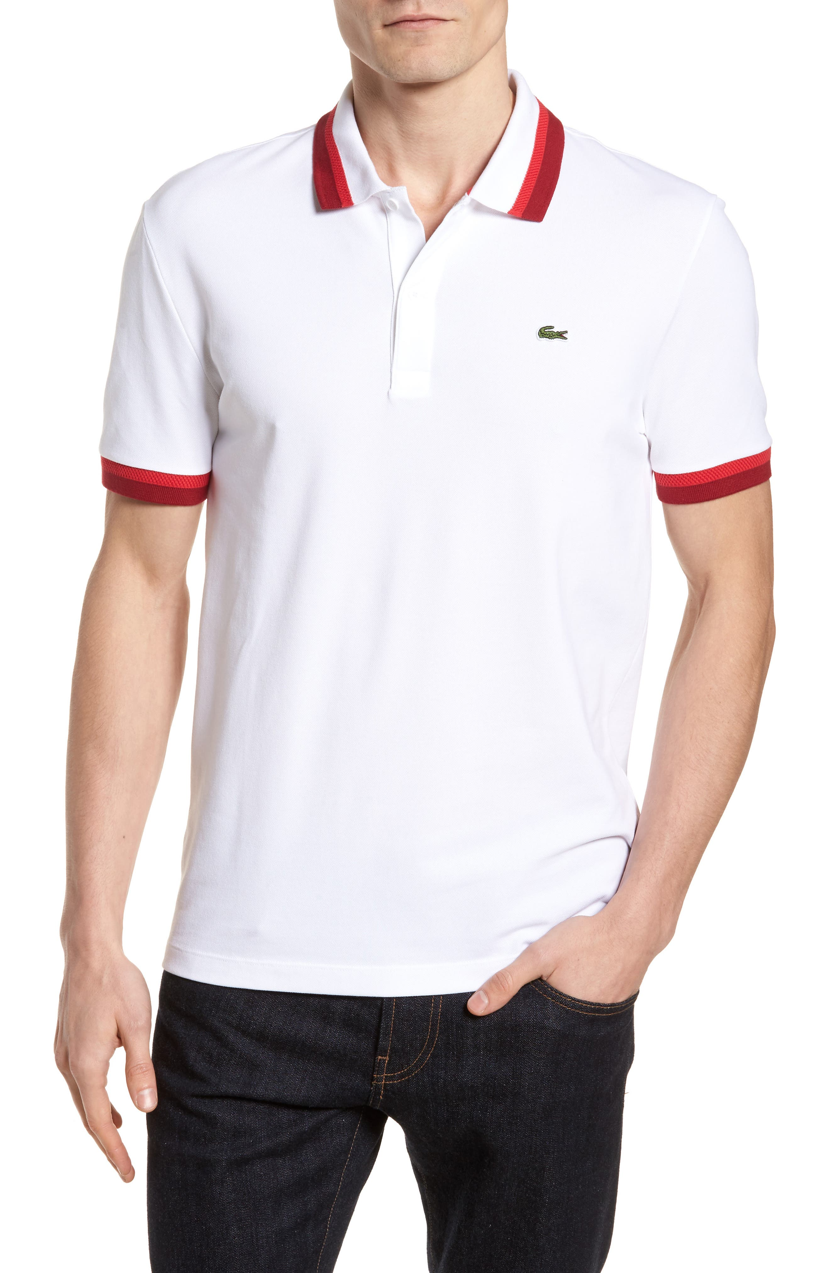 Lacoste Polo - white / toreador-turkey red c2KedqaXAE