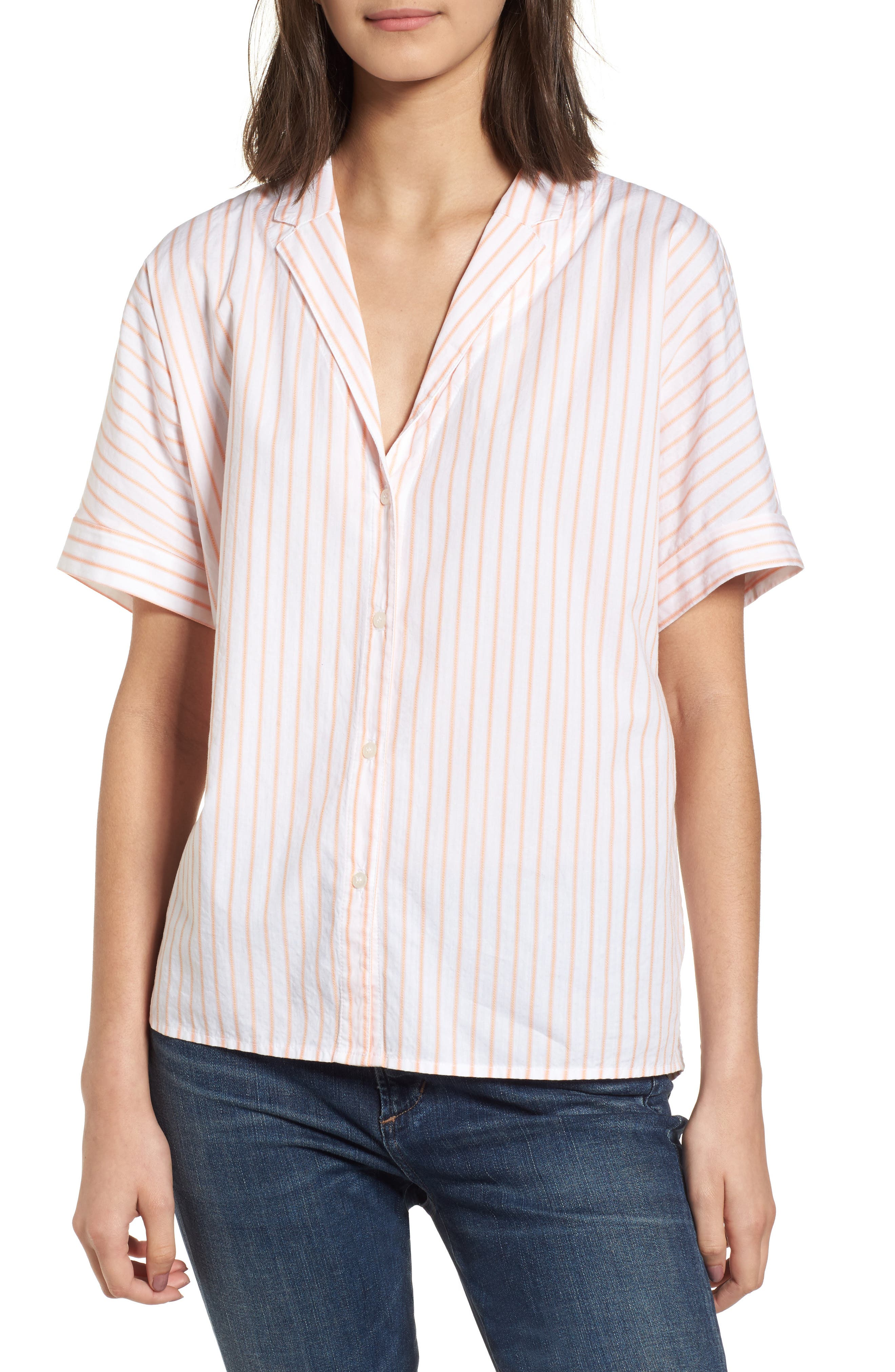 Stripe Oxford Shirt,                         Main,                         color, Sorbet