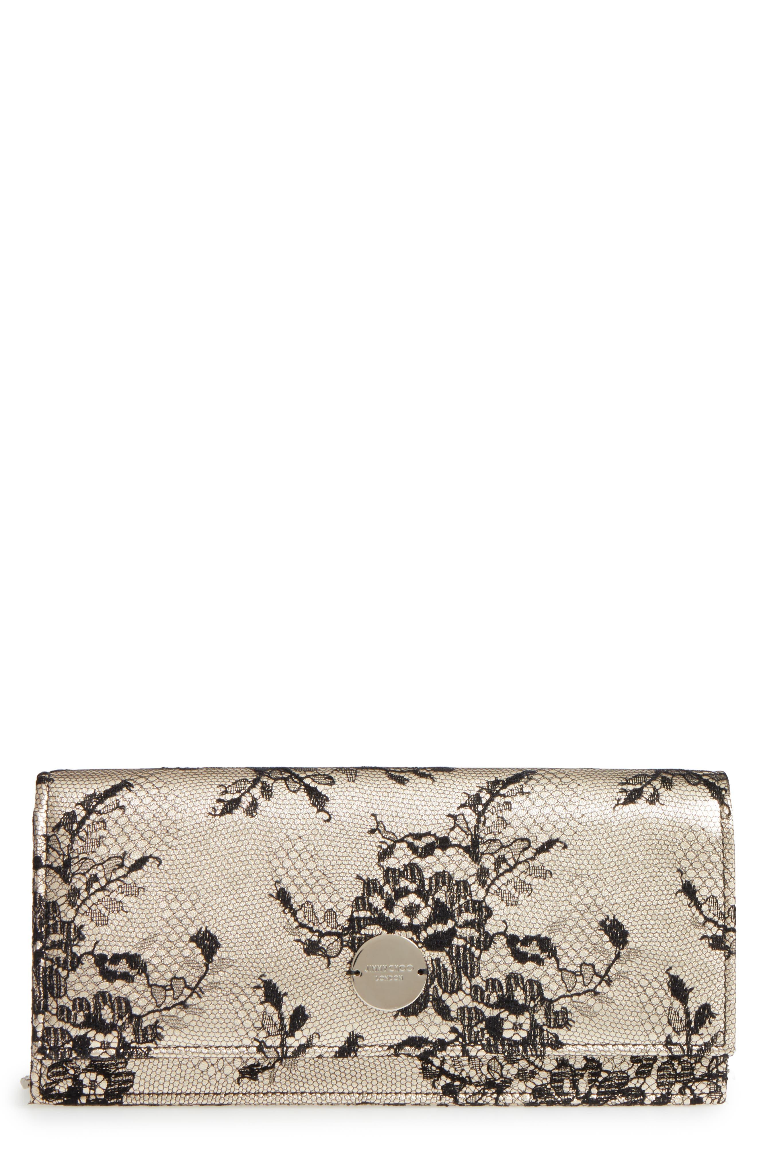 Jimmy Choo Floral Lace & Leather Shoulder Bag