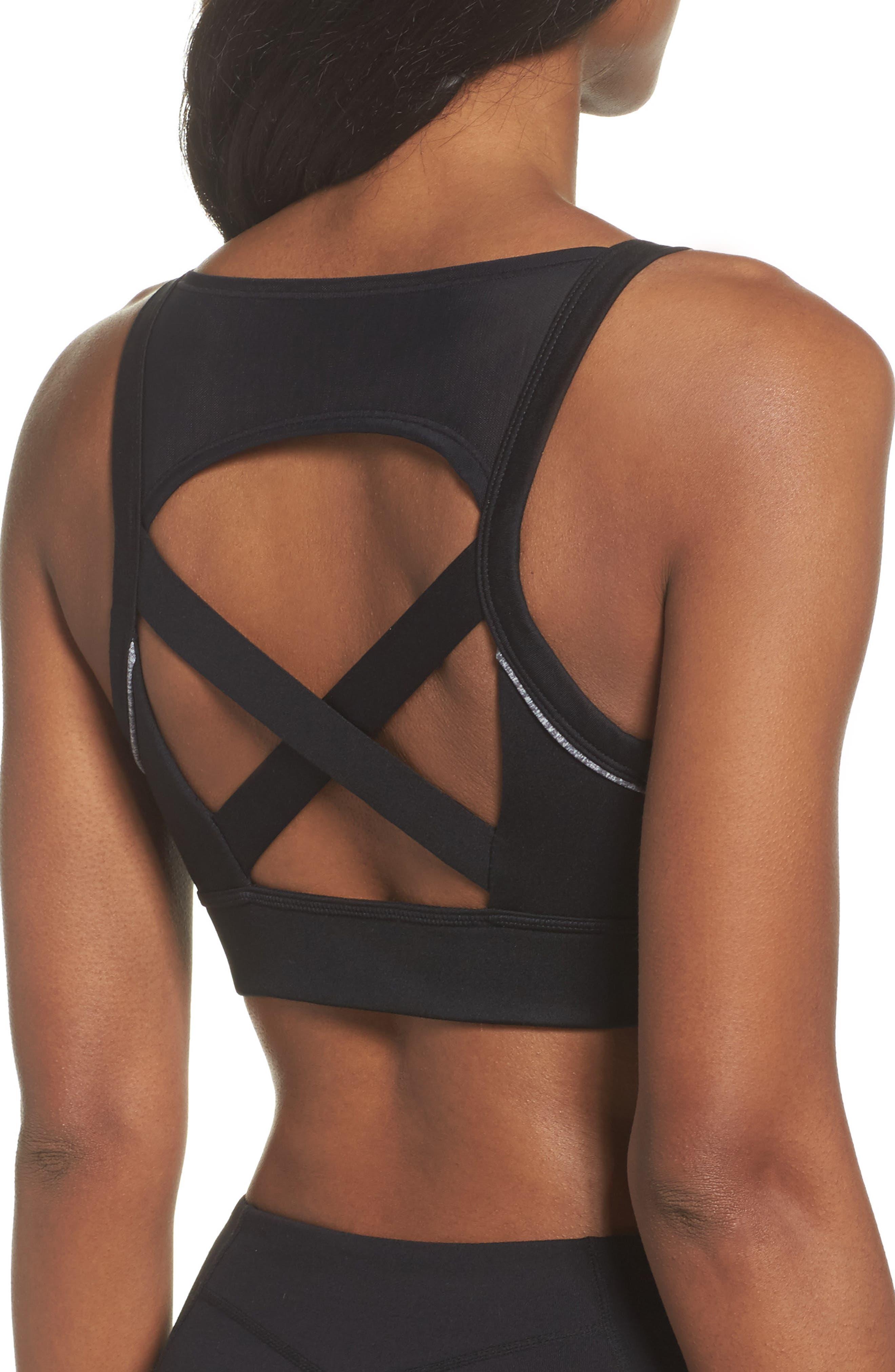Harness Sports Bra,                             Alternate thumbnail 2, color,                             Black