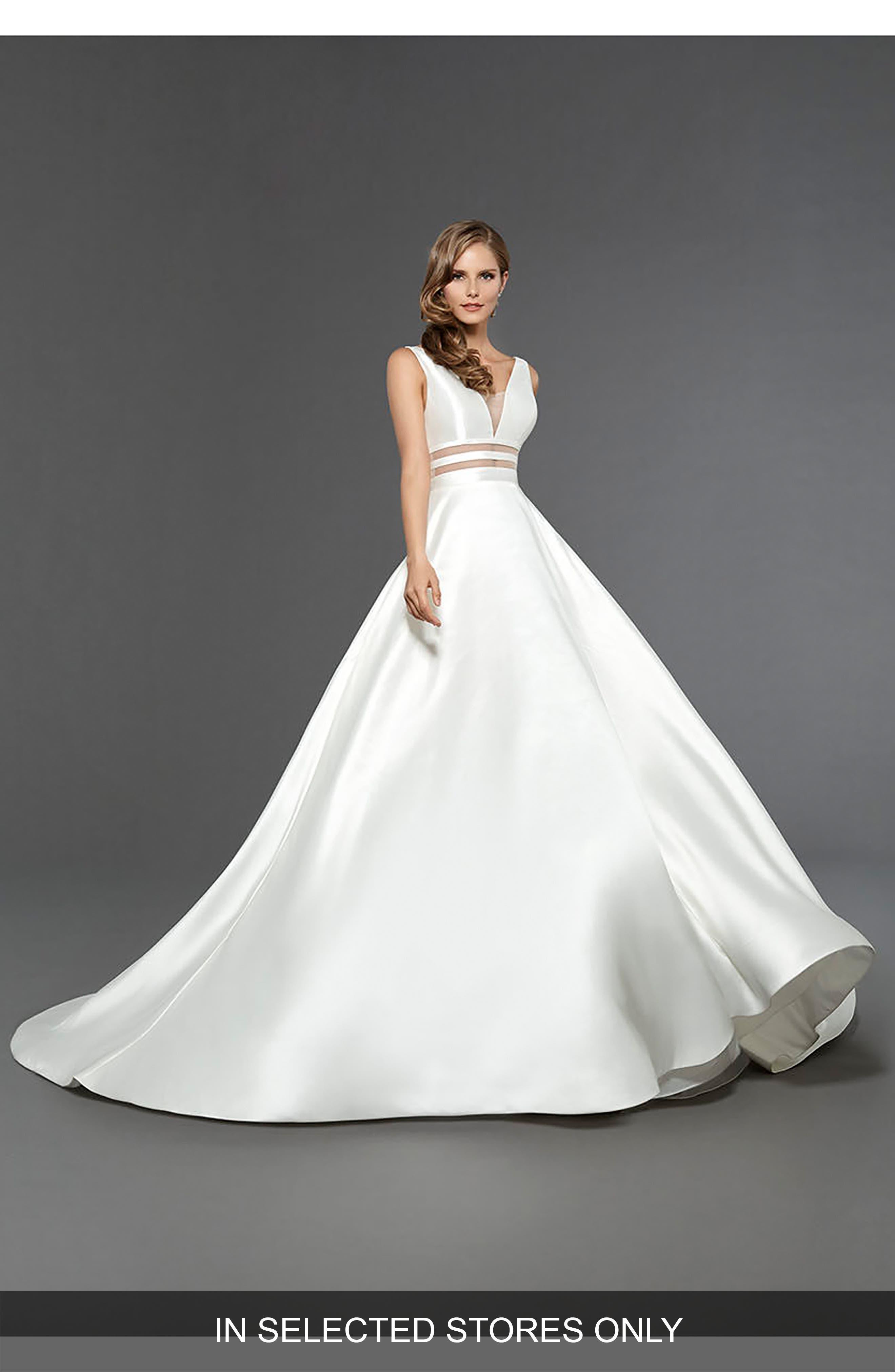 Ella Sleeveless Mikado Gown,                         Main,                         color, Off White