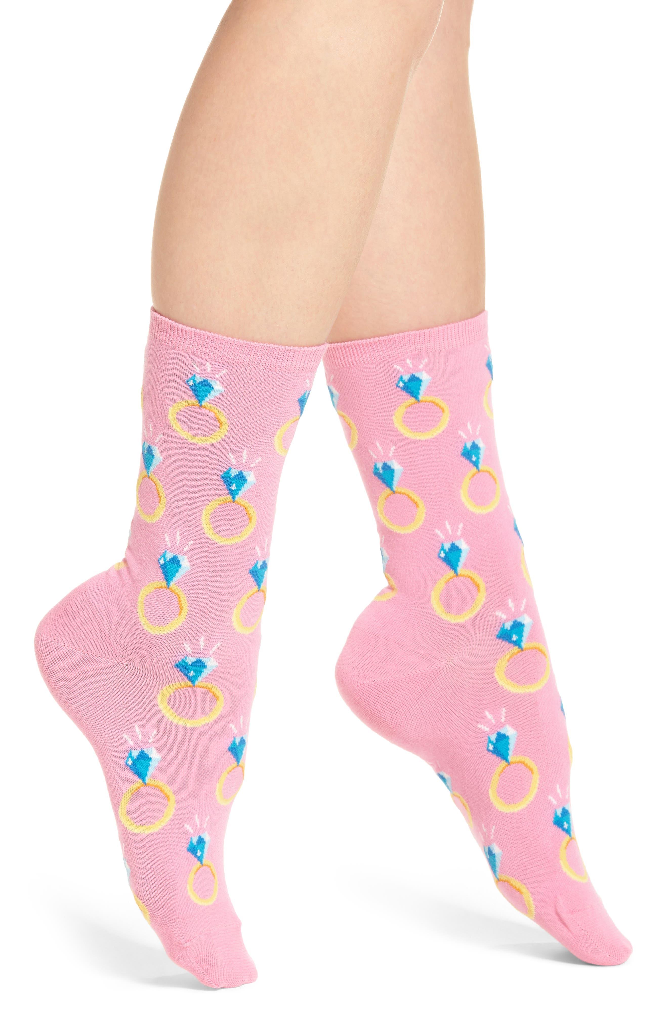 Engagement Ring Crew Socks,                         Main,                         color, Petal Pink