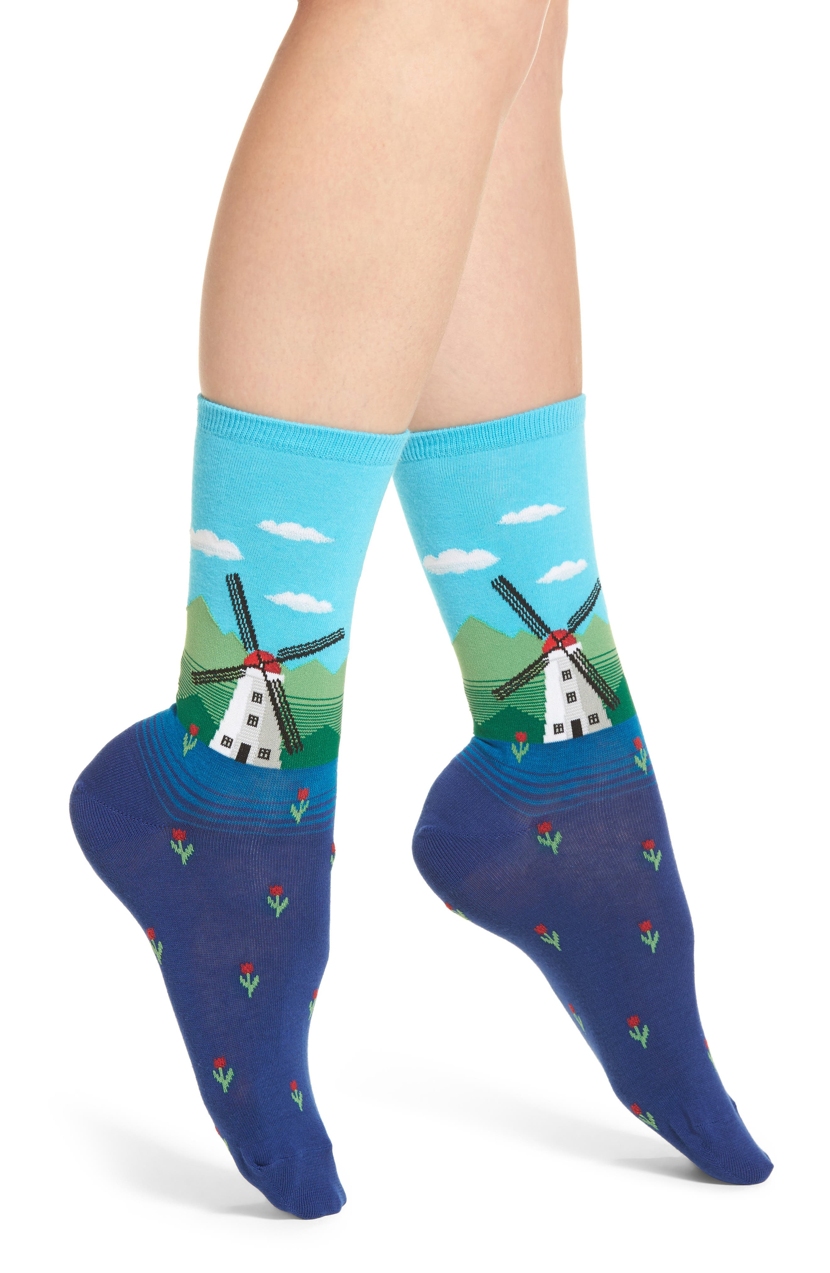 Windmill Crew Socks,                             Main thumbnail 1, color,                             Light Blue
