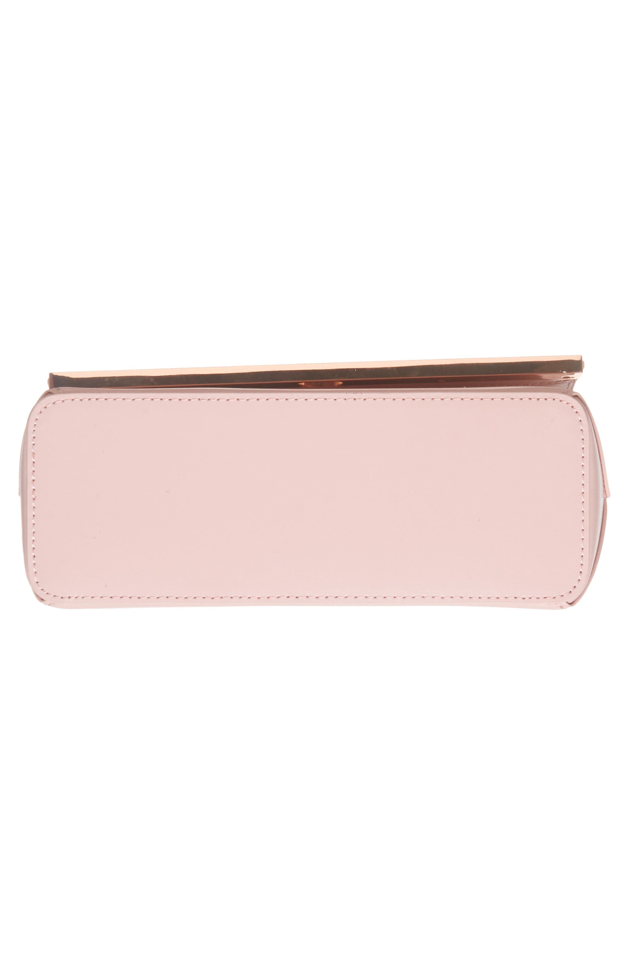 Bow Embossed Leather Crossbody Bag,                             Alternate thumbnail 6, color,                             Light Pink