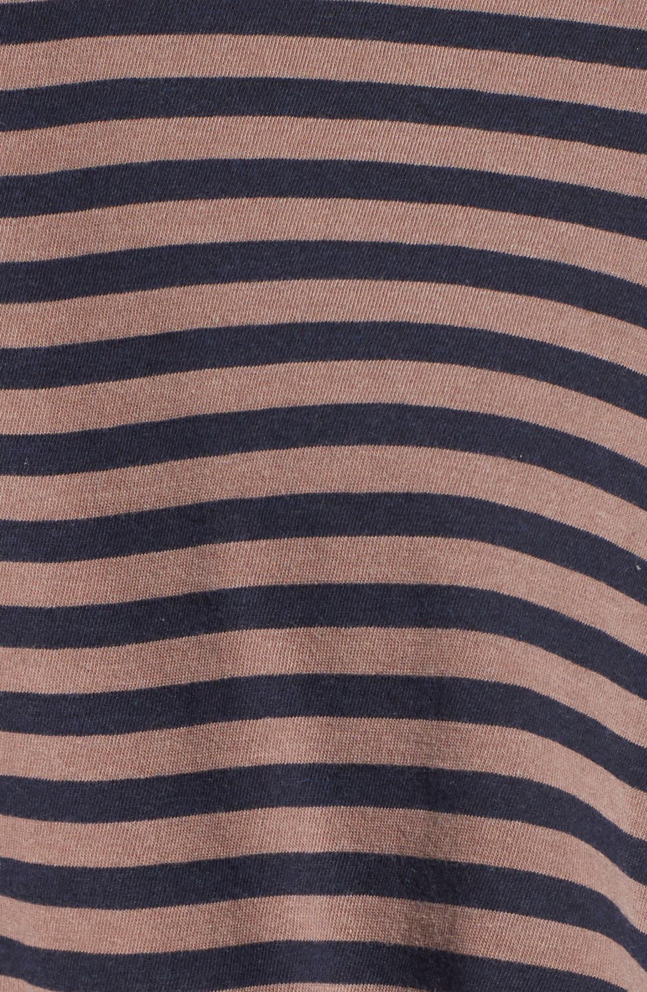 Stripe Twist Front Tee,                             Alternate thumbnail 5, color,                             Mocha