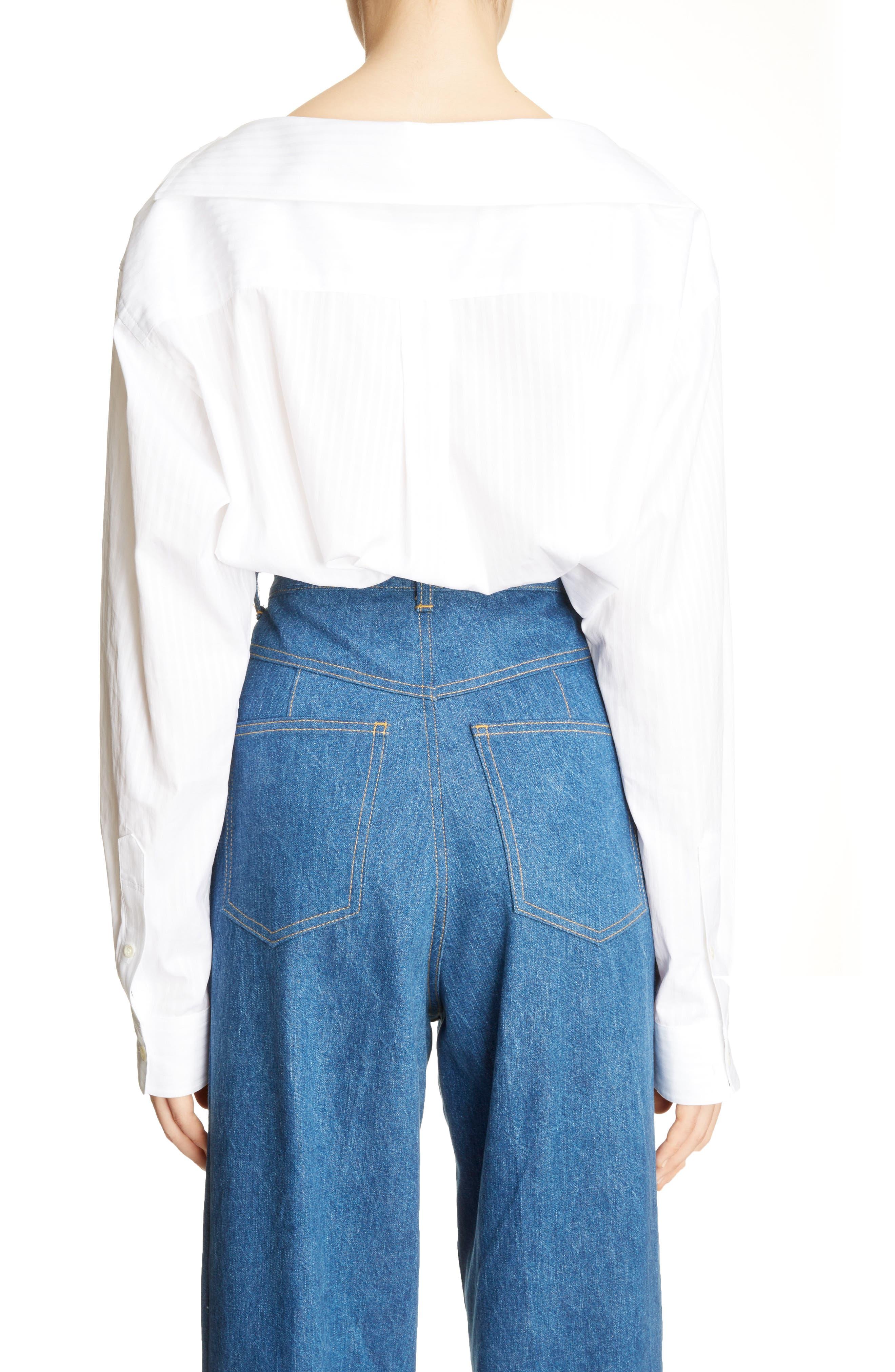 Asymmetrical One-Shoulder Blouse,                             Alternate thumbnail 2, color,                             White