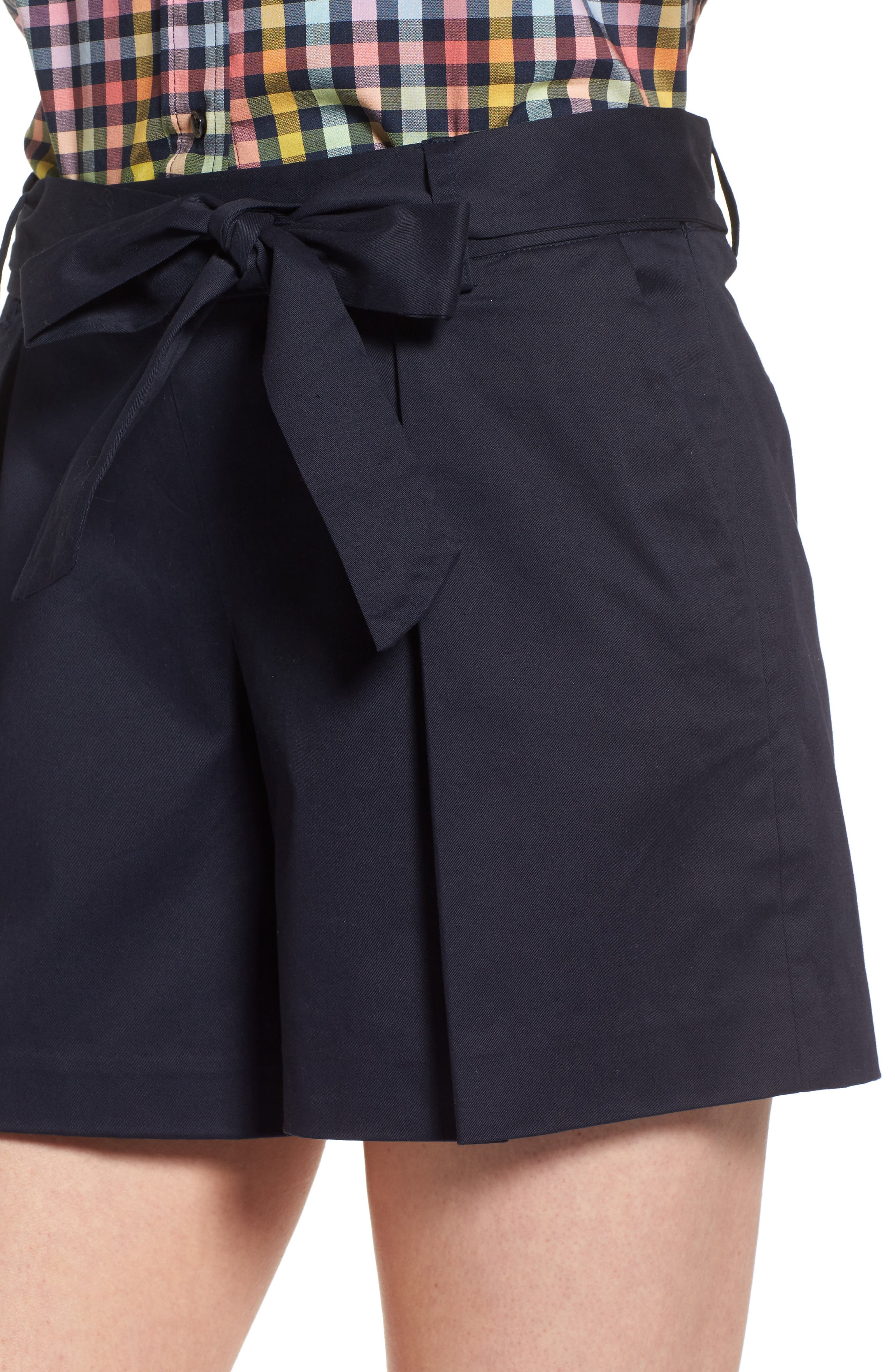 Pleated Twill Bow Front Shorts,                             Alternate thumbnail 4, color,                             Navy Night