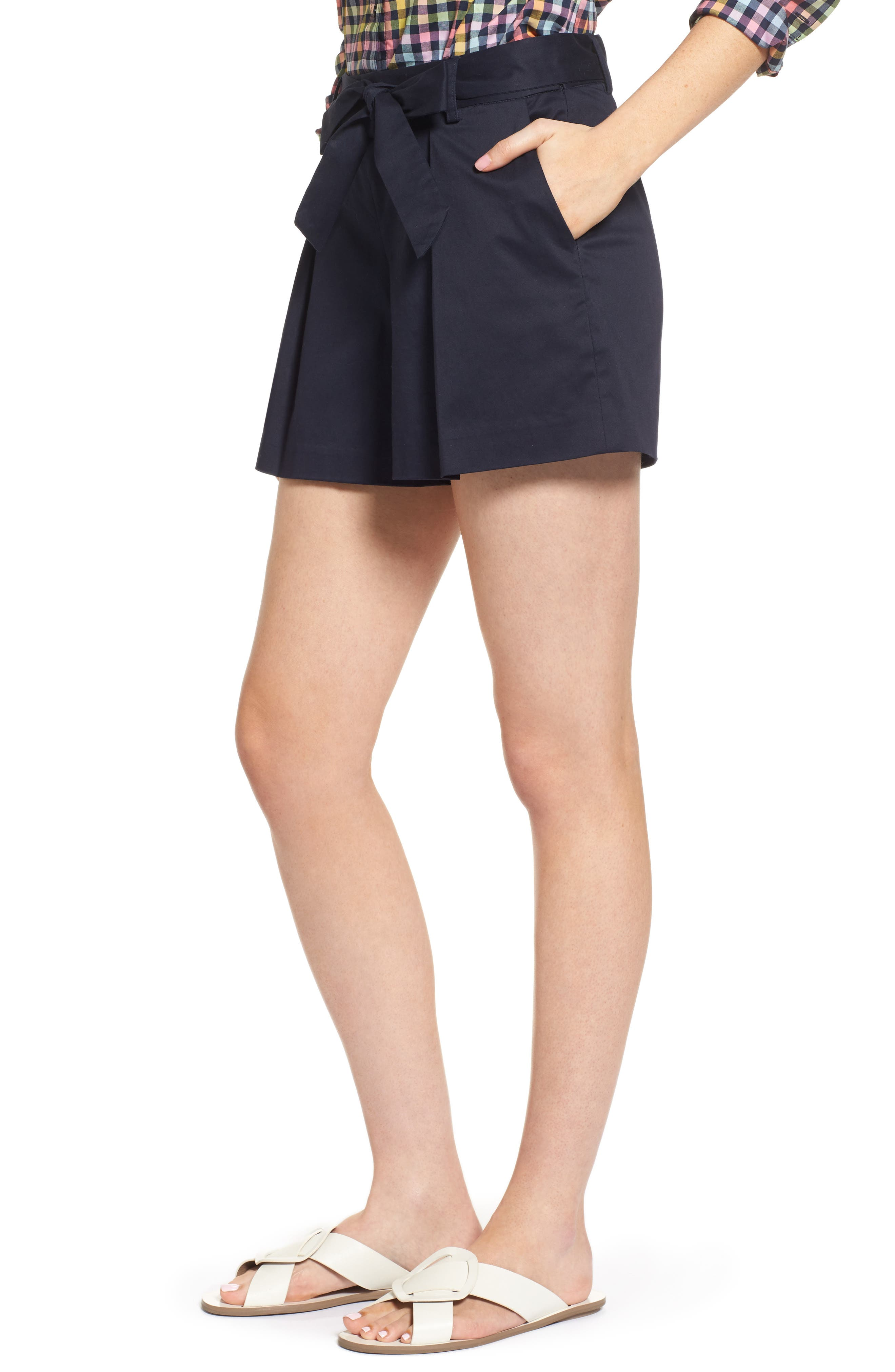 Pleated Twill Bow Front Shorts,                             Alternate thumbnail 3, color,                             Navy Night