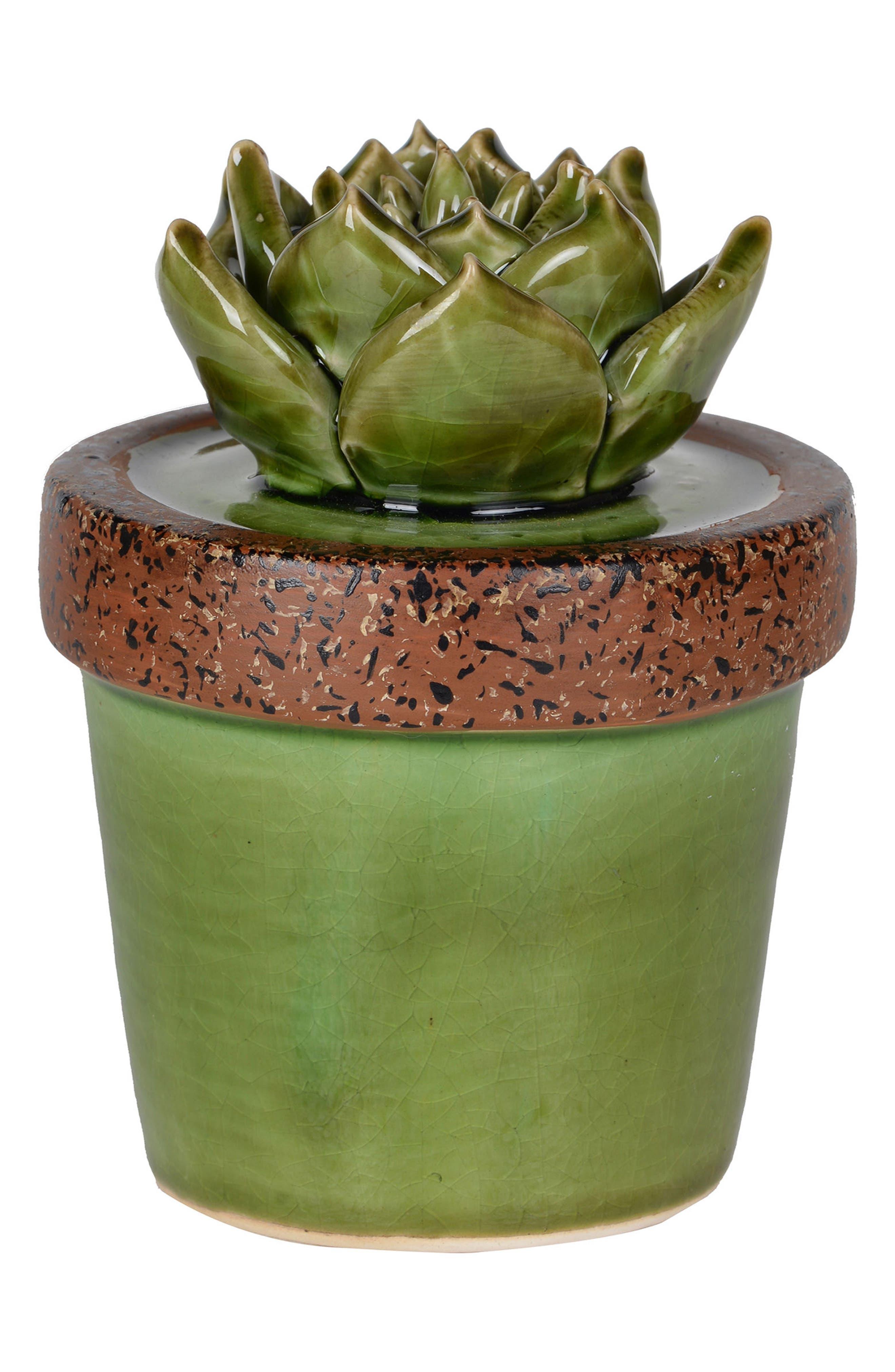 A & B Home Ceramic Succulent,                         Main,                         color, Green