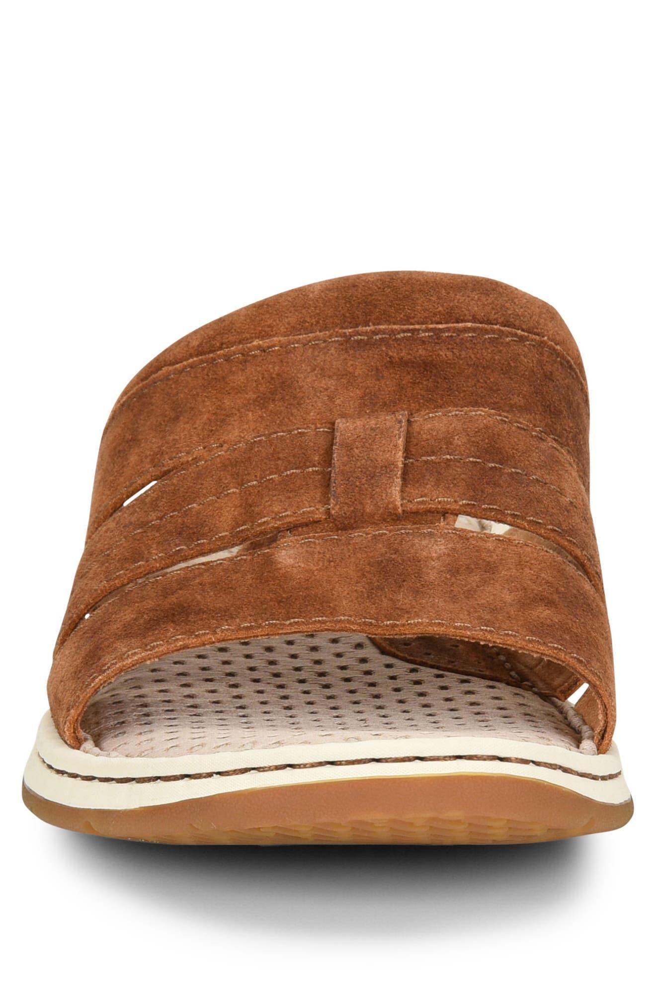 Sail Slide Sandal,                             Alternate thumbnail 4, color,                             Rust Leather