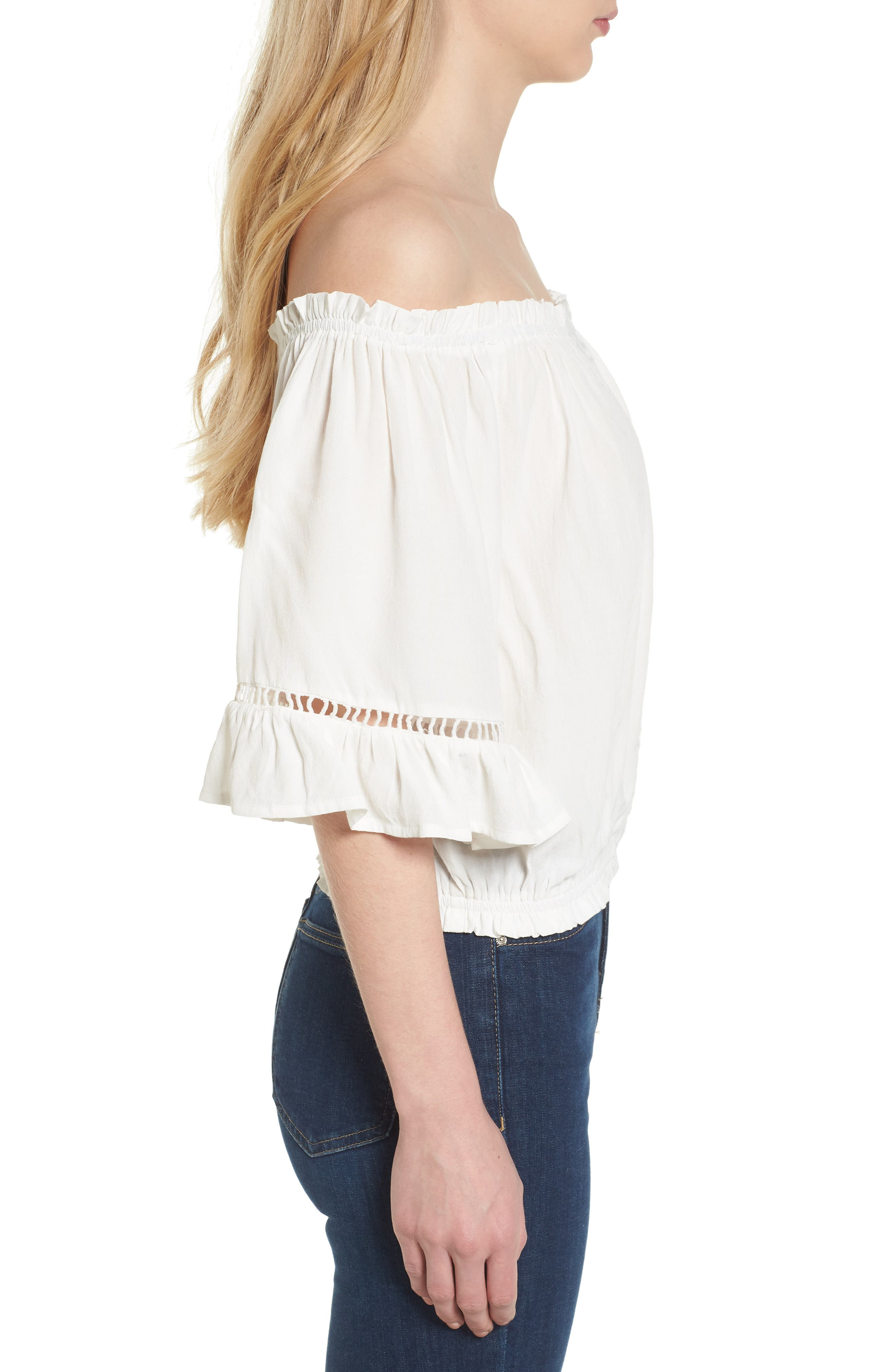 Bishop + Young Off the Shoulder Poet Top,                             Alternate thumbnail 3, color,                             White