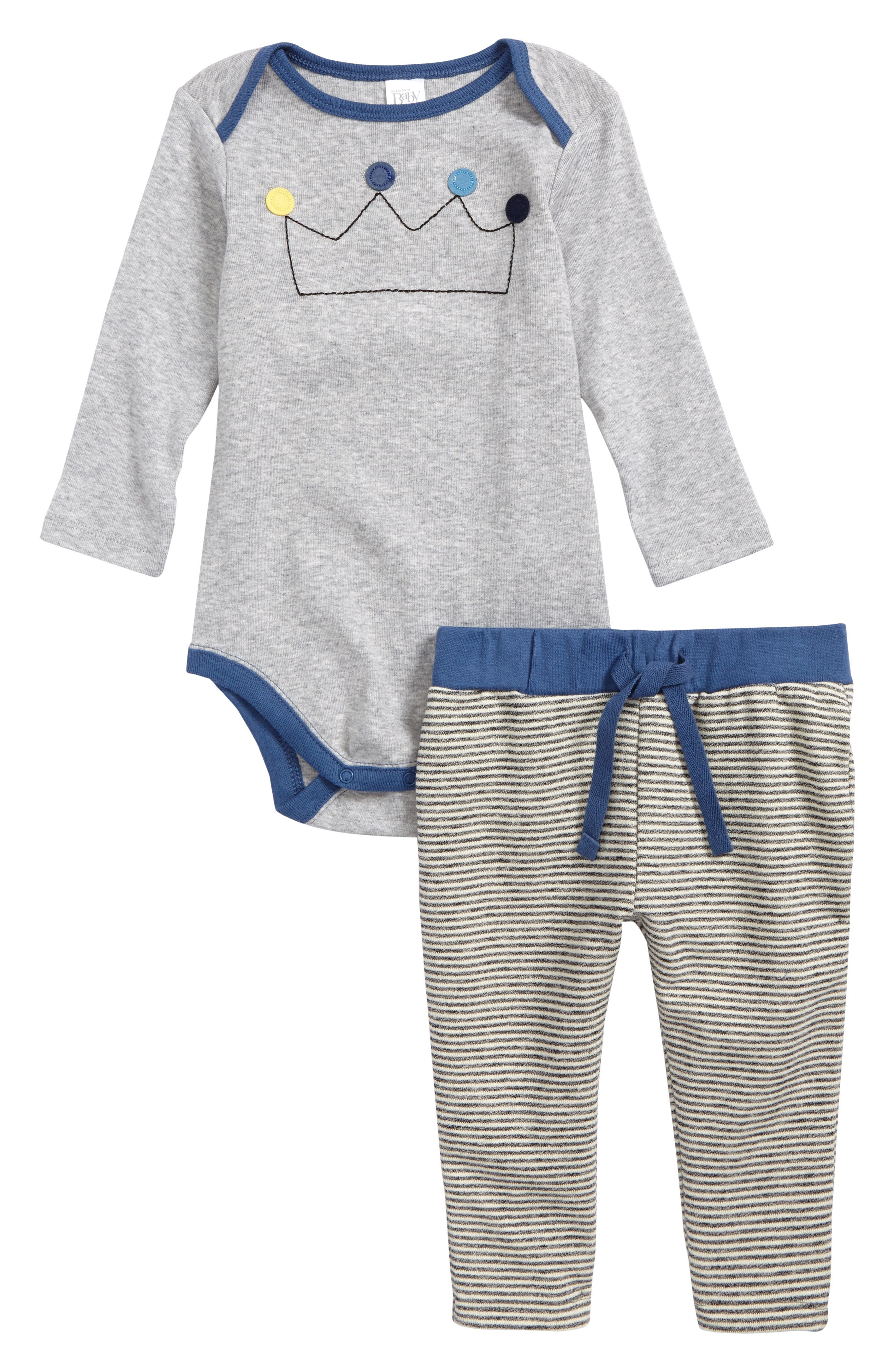 Appliqué Bodysuit & Sweatpants Set,                             Main thumbnail 1, color,                             Grey Ash Heather Crown