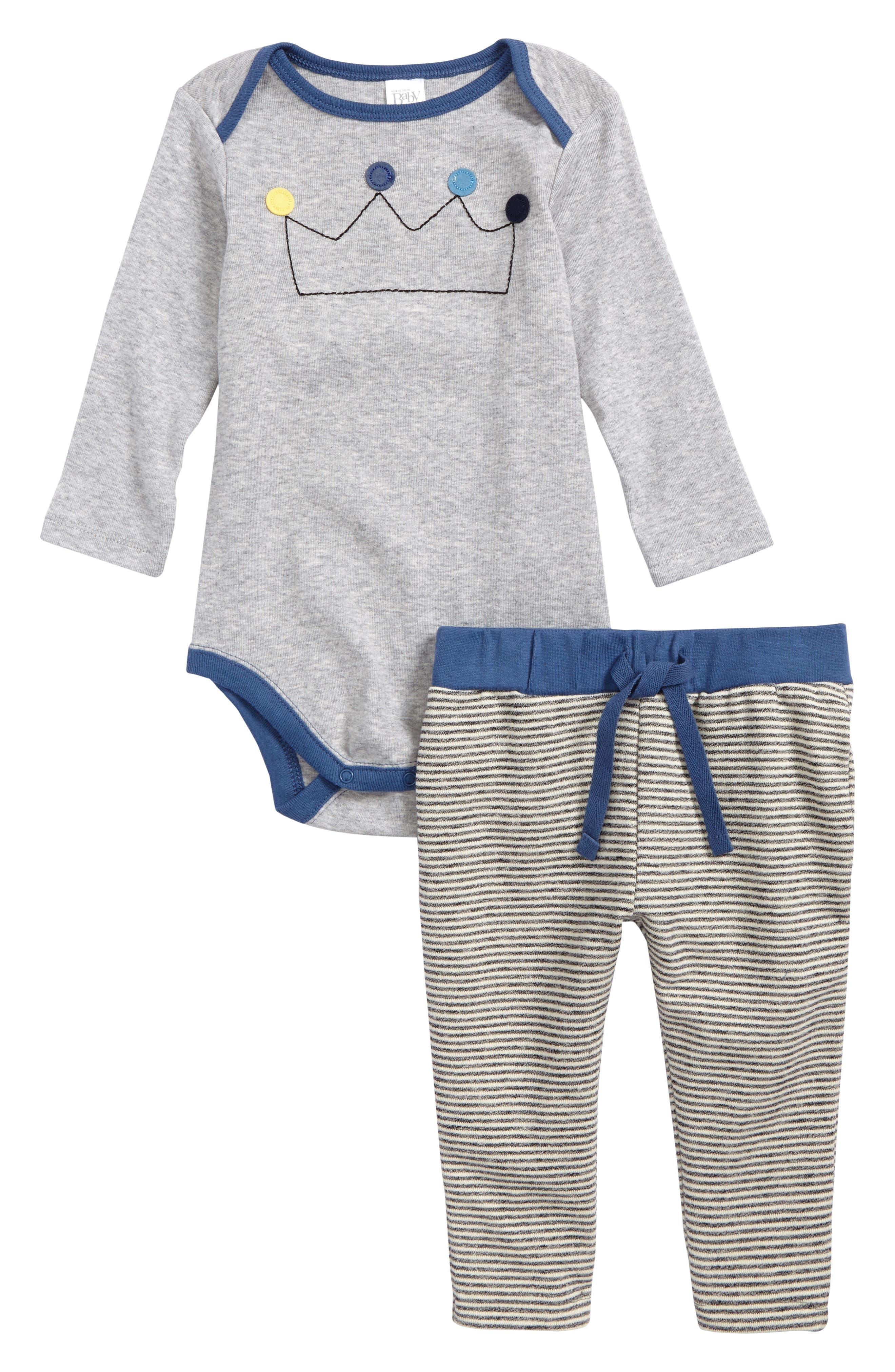 Appliqué Bodysuit & Sweatpants Set,                         Main,                         color, Grey Ash Heather Crown