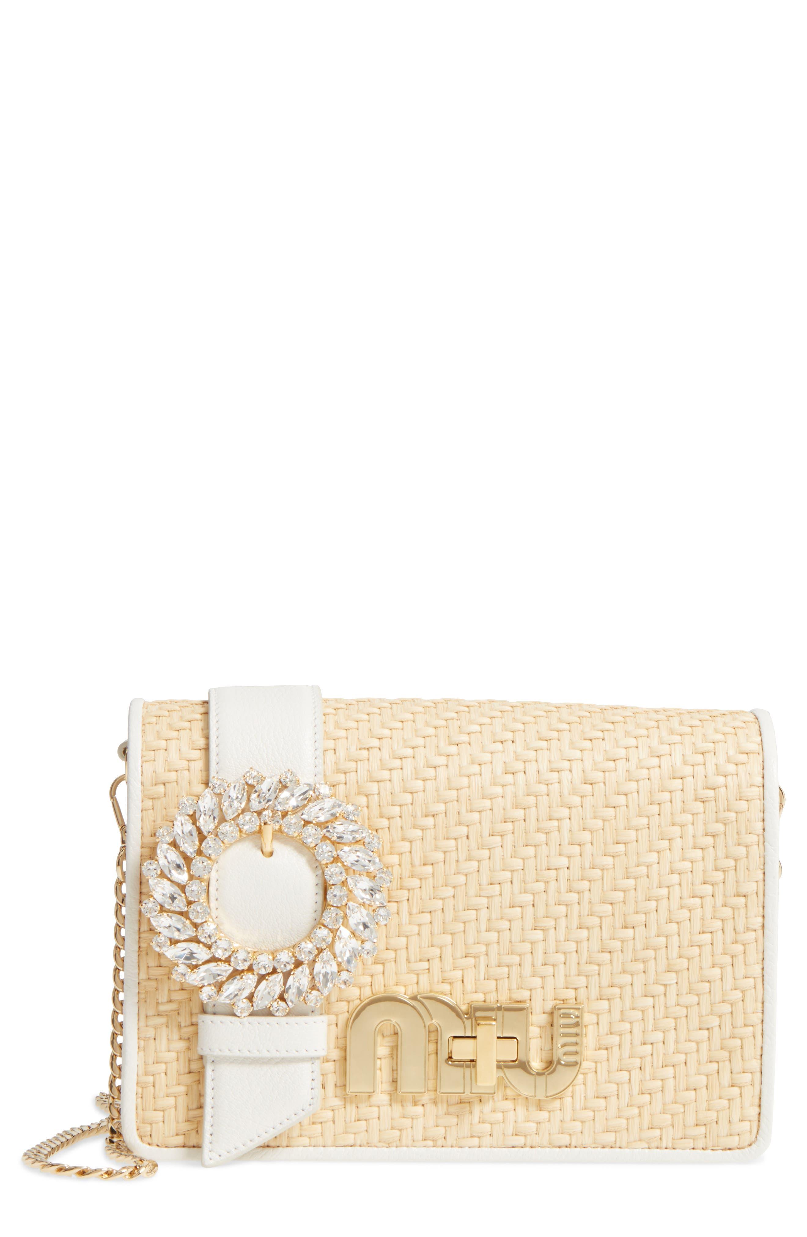 Miu Miu Woven Raffia & Leather Shoulder Bag